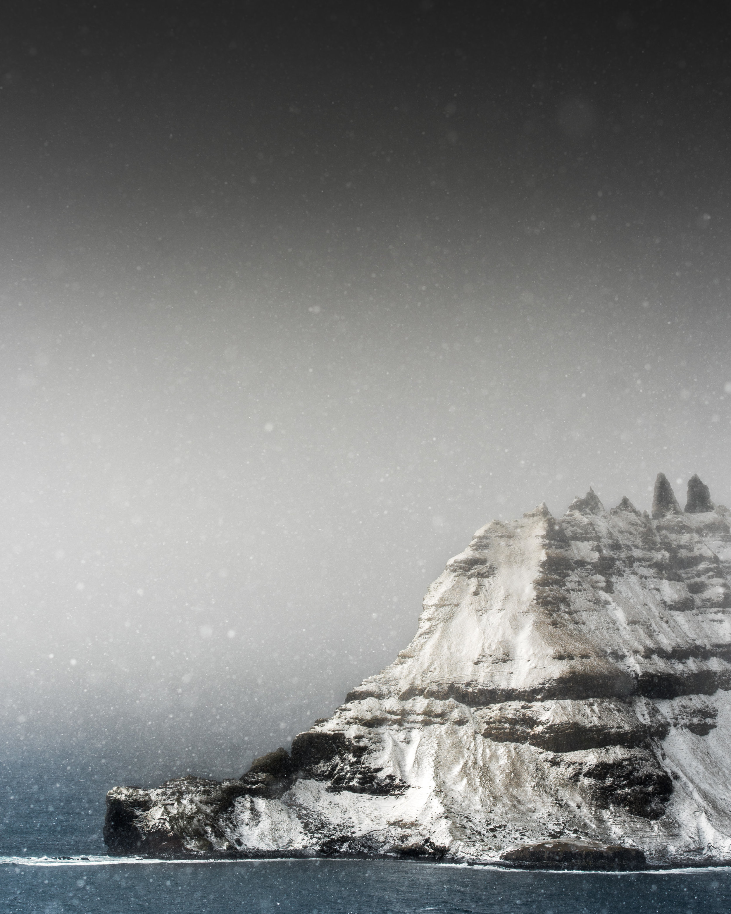 Snowstorm over Tindholmur, Faroe islands