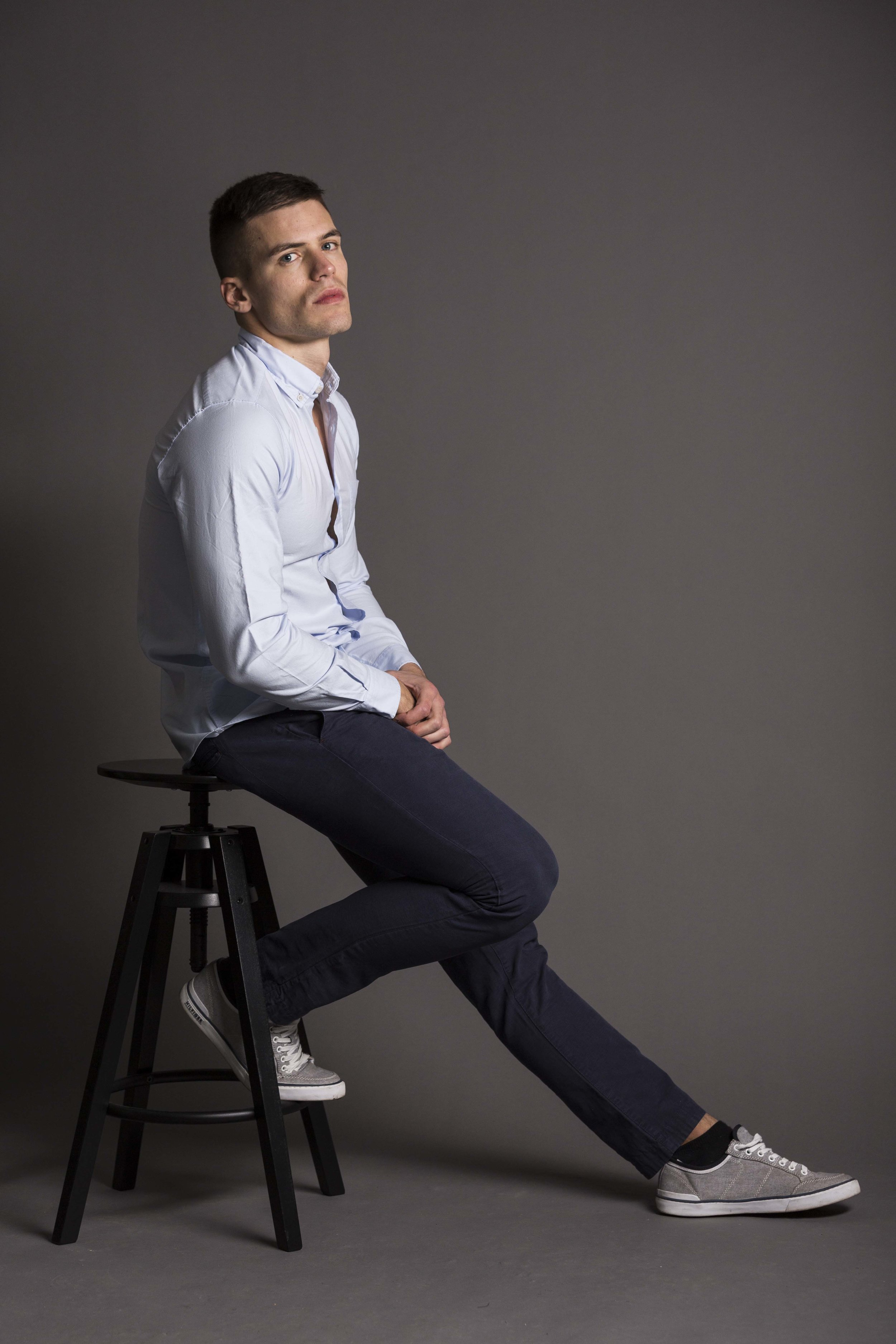 Shirt by  Sunspel , joggers by  Ted Baker , sneakers - models own
