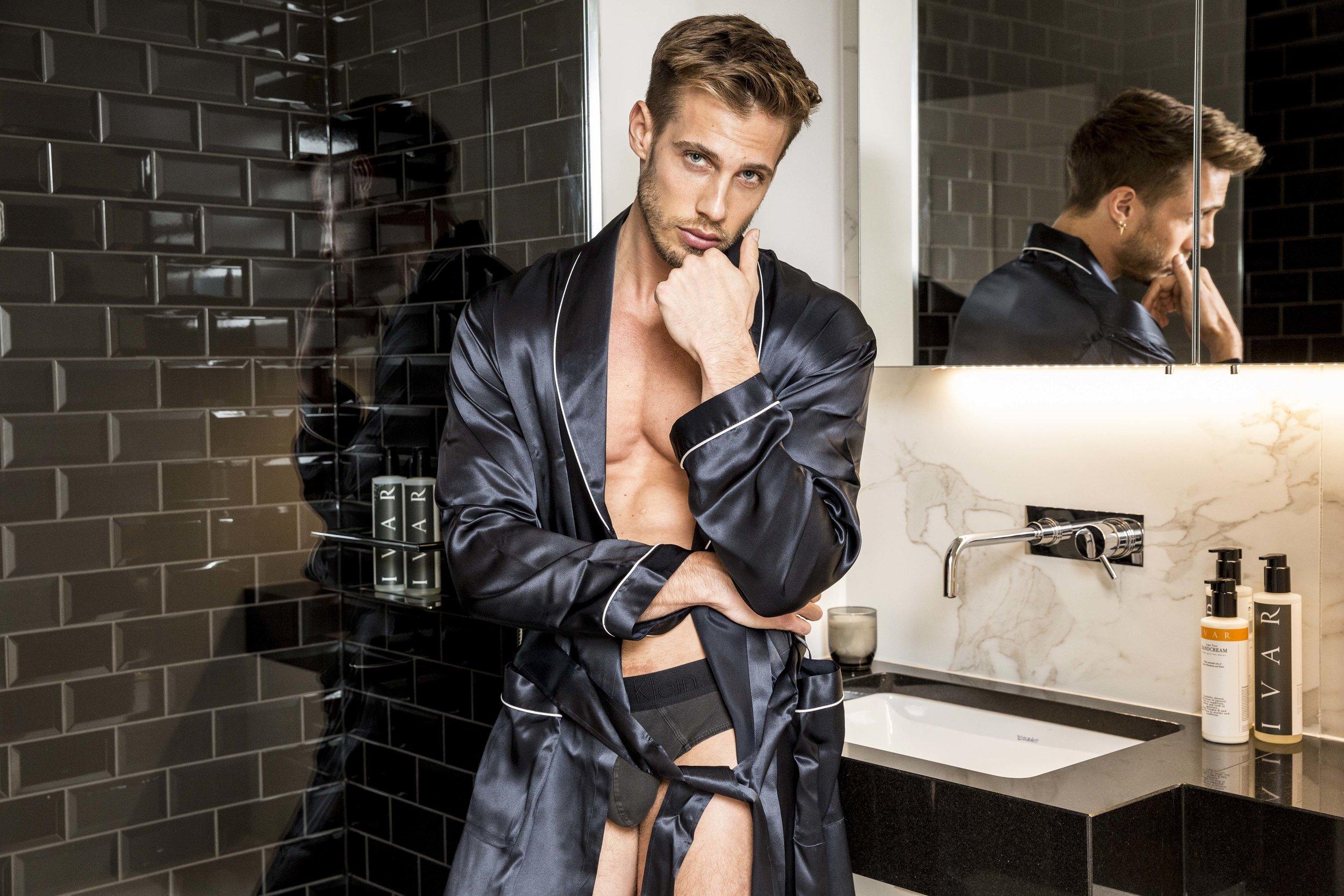 Gown -  Zimmerli , Underwear -  Calvin Klein