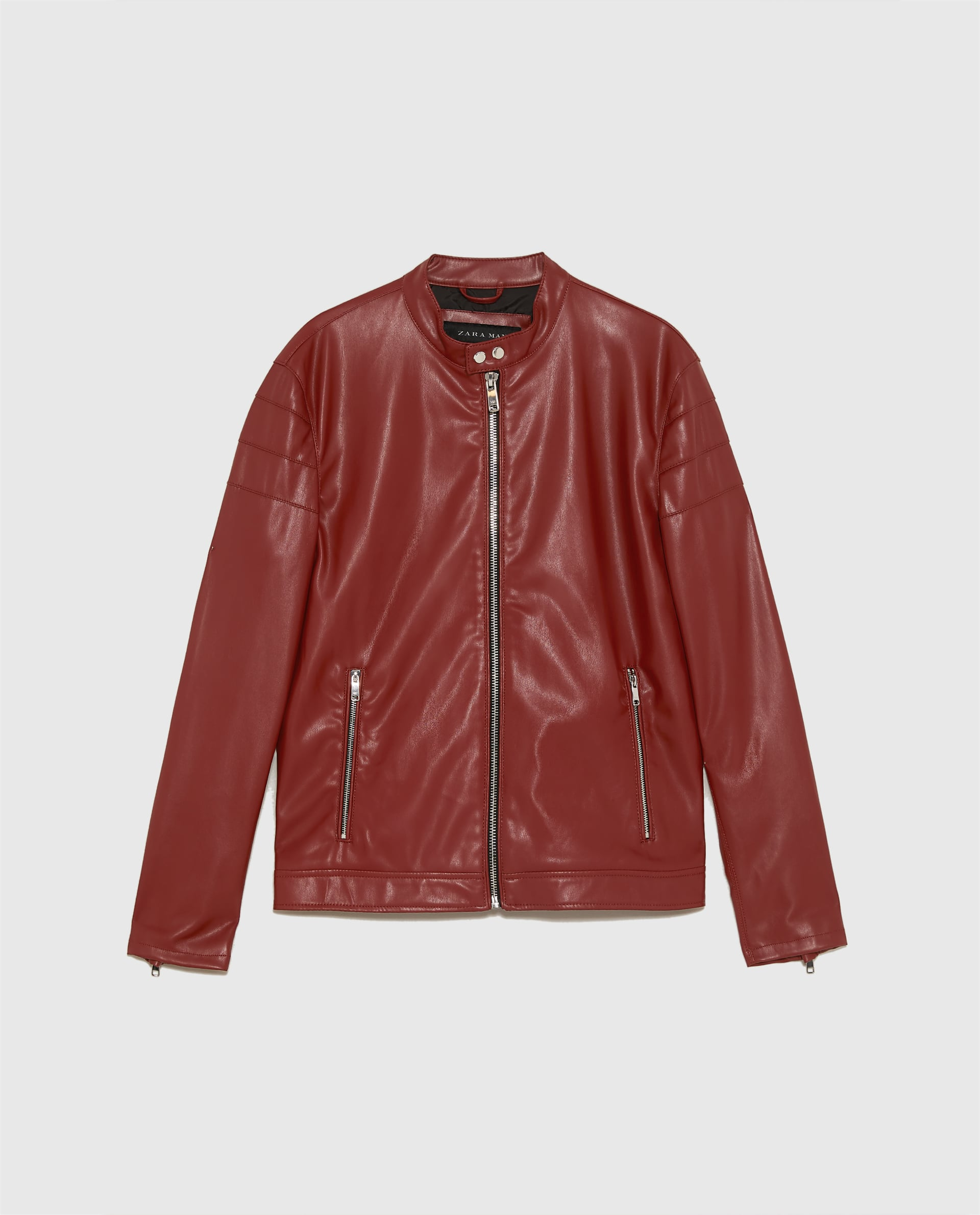 Red leather biker jacket - £49.99 at Zara