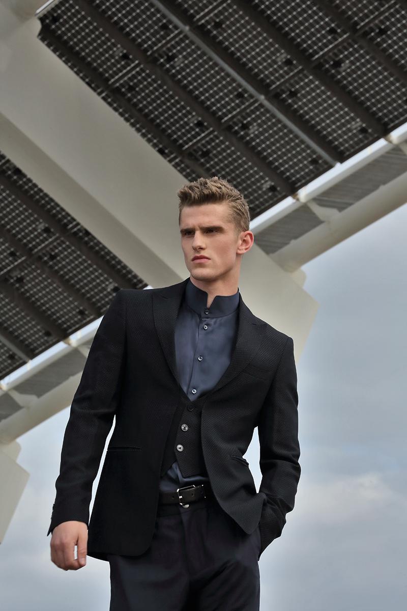 Blazer -  Emporio Armani , shirt & belt -  Giorgio Armani , trousers -  Incotex