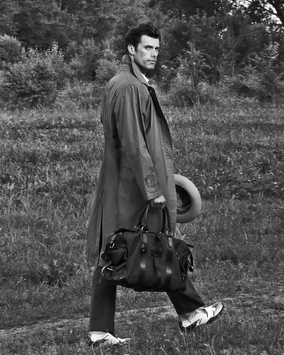 Trench coat -  Obey , shirt -  Zara , trousers -  Ann Demeulemeester , shoes -  Emporio Armani , hat -  Borsaliano , bag -  Ralph Lauren