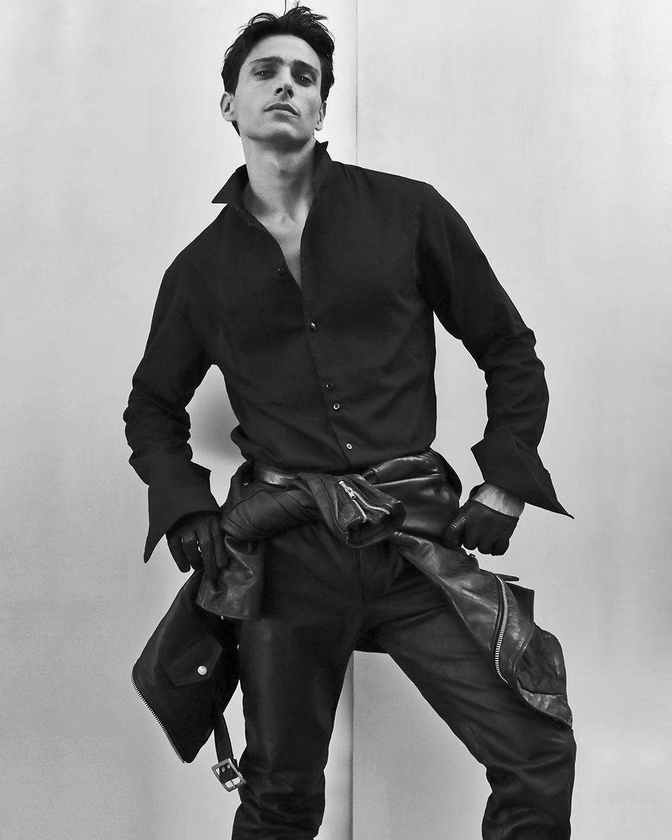Shirt -  Giorgio Armani , leather jacket - Shott, leather trousers - stylist's own, leather gloves & belt -  Zara