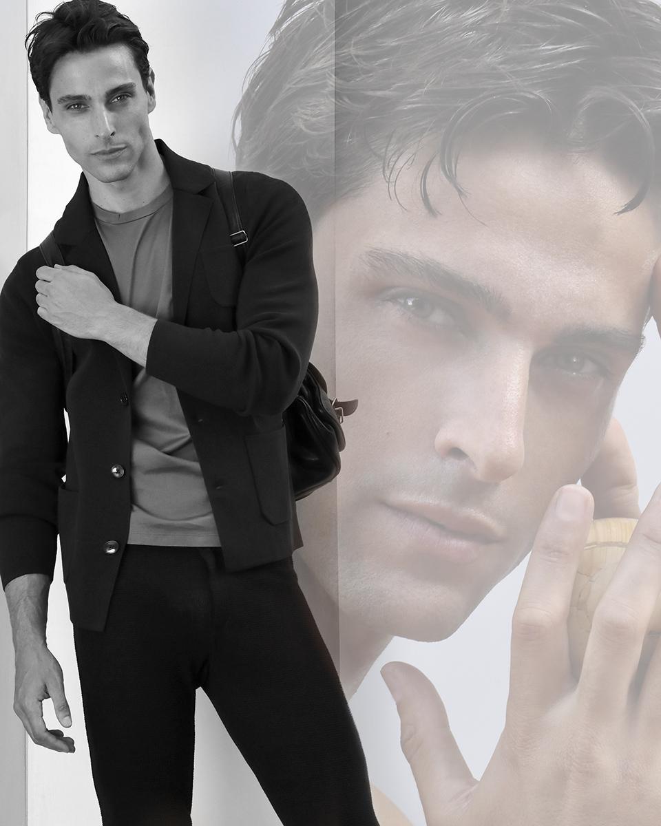 Jacket -  Massimo Dutti , T-shirt -  Armani Exchange , trousers -  Emporio Armani , bag -  Saint Laurent