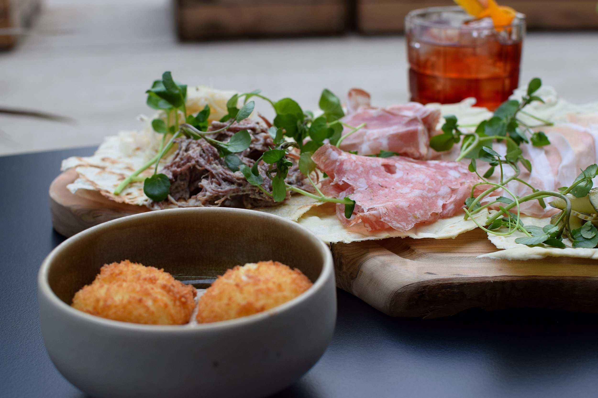 Charcuterie Board and Cheese Croquettes with  Lost Negroni  - Photo by Simon Burrell 1.JPG