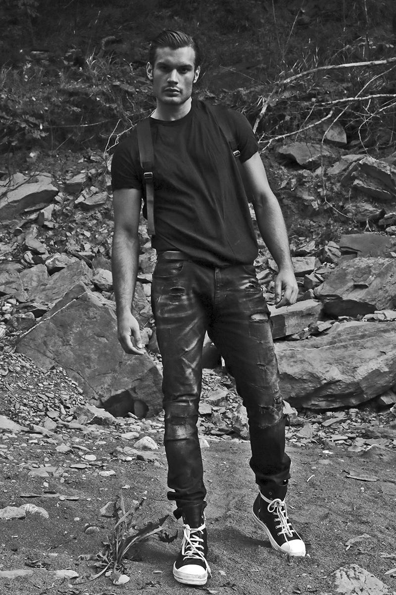 T-shirt & sneakers -  Rick Owens , denim -  Faith Connexion , backpack -  Armani