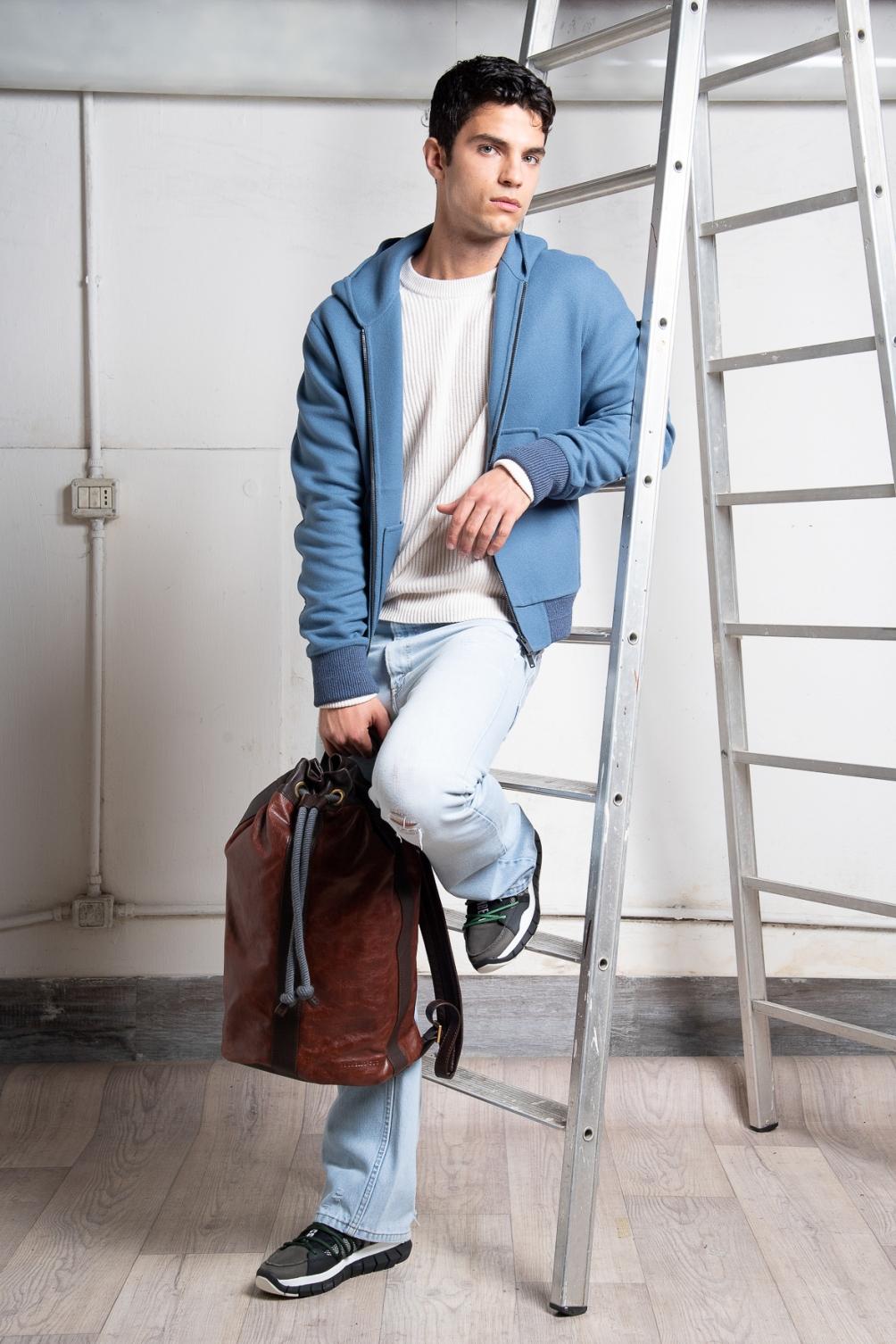 Jacket - Hevō Jumper -  Brunello Cucinelli , Jeans - vintage  A.N.G.E.L.O. , Backpack -  Brunello Cucinelli , Shoes -  Bikkembergs