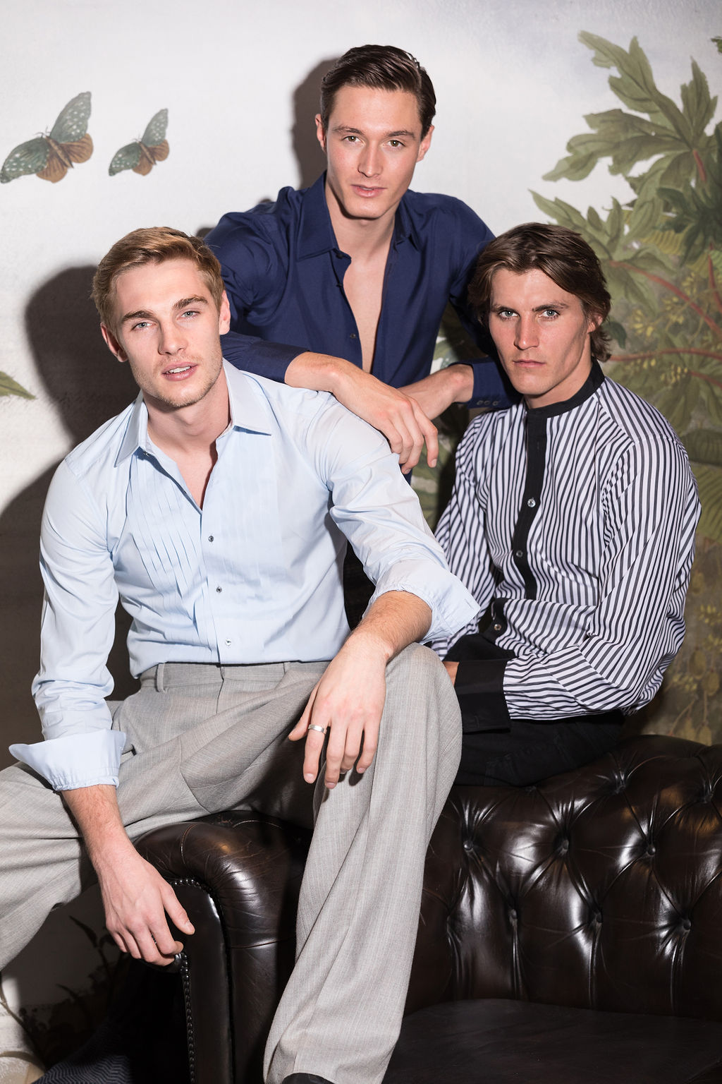 Tommy wears  Turnbull & Asser  shirt and  E Tautz  trousers, Huw wears  Turnbull & Asser  shirt and  Tailor Made London  trousers, Jack wears  Turnbull & Asser  shirt and his own jeans