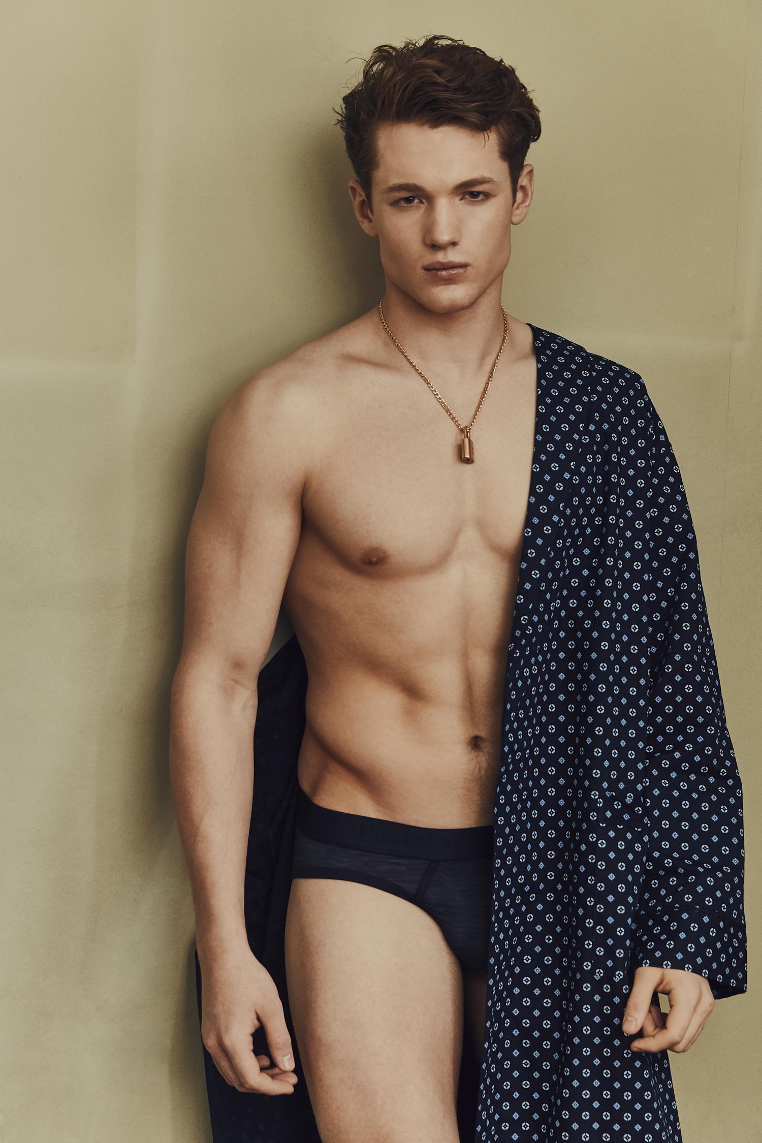 Dressing Gown -  Marks and Spencer , Briefs -  Ermenegildo Zegna , Necklace: Models Own