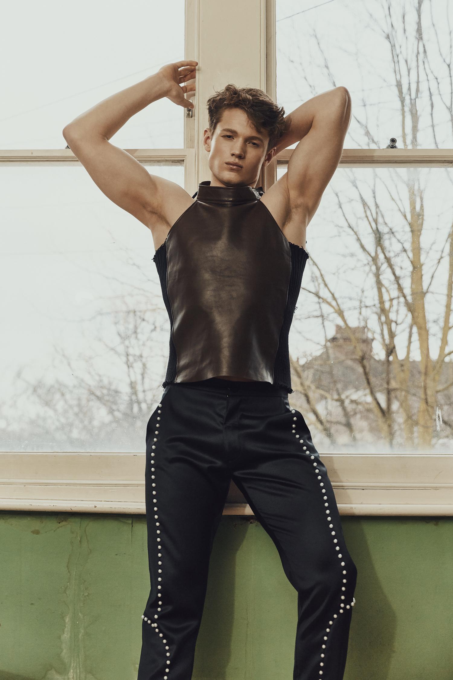 Leather Vest -  Daniel W. Fletcher , Trousers -  Aleksandra Seweryniak