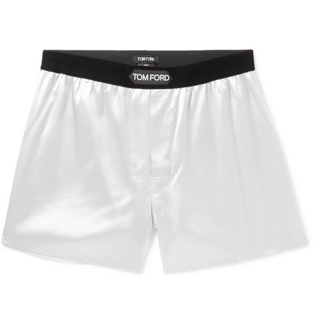 Tom Ford velvet trimmed silk satin boxer shorts at Mr Porter - £145 - Super smooth, relaxed fit and the last word in luxury. Plus they are a steal at £145