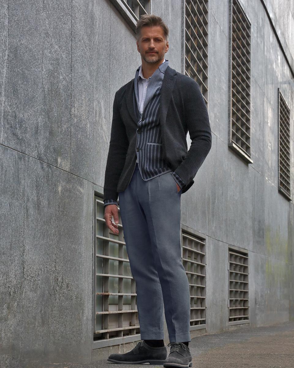 Plain jacket & trousers -  Giorgio Armani , Striped jacket -  Drumohr , Shirt -  Brooks Brothers