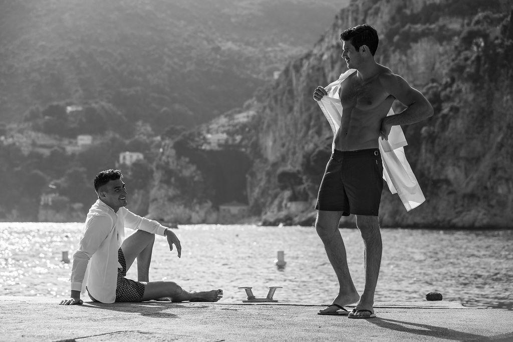 Harry wears  Orlebar Brown , Paul wears  Orlebar Brown  shirt &  Les Basics  shorts