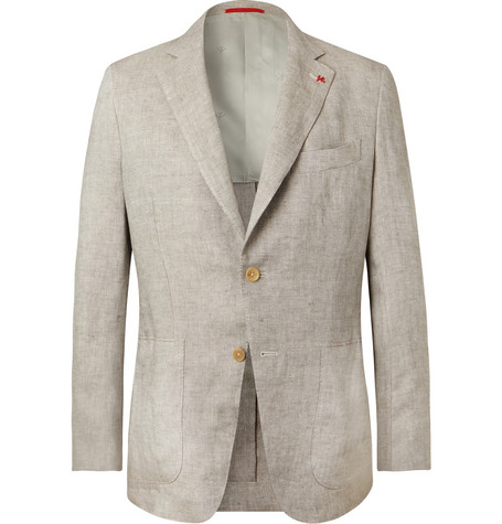 Isaia linen blazer at Mr Porter - £1,910 - Linen is the fabric of the rakish gent in a heatwave. We are digging the fine tailoring and soft shoulders
