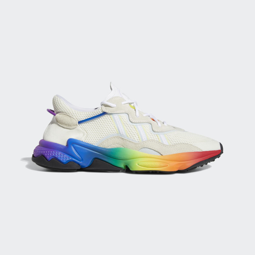Adidas Ozweego Pride sneakers - £89.95 - A reimagined look from the '90s that celebrates LGBTQ pride. A rainbow of colours fades across the chunky outsole