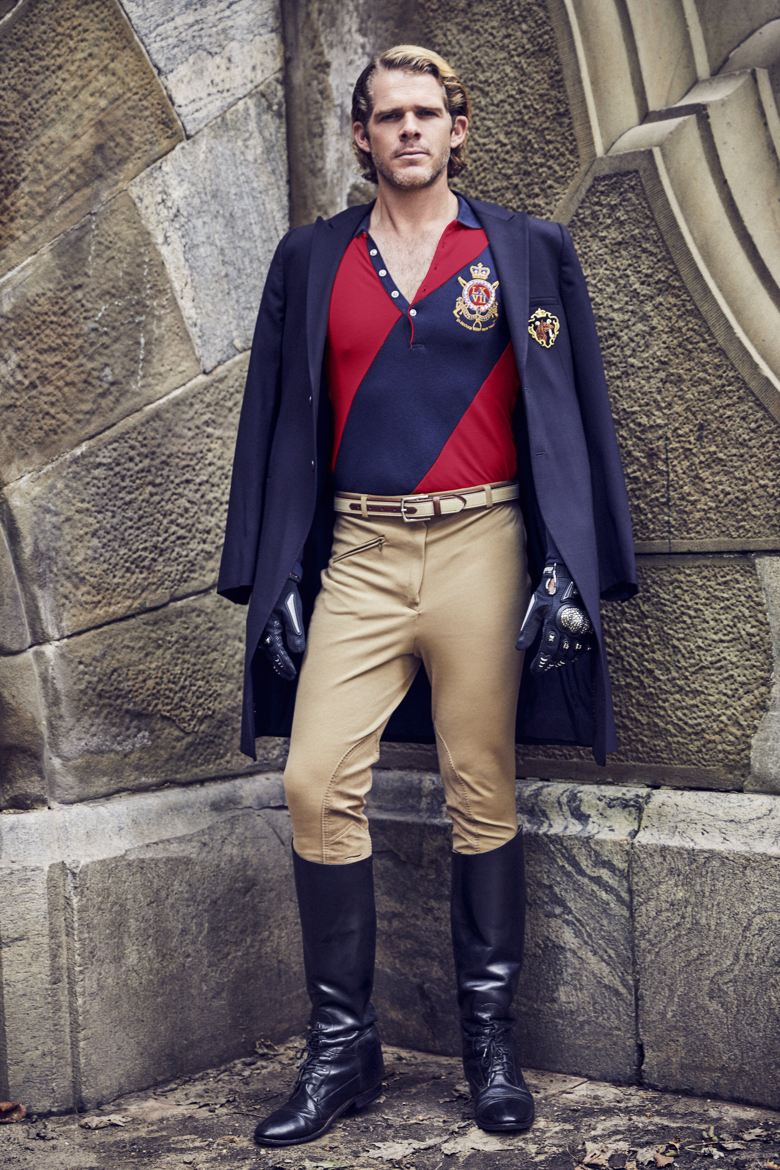 Navy Riding Jacket by  Emporio Armani , Navy and Red Shirt with Crest by Polo Vintage, Riding Pants, Belt by  Brooks Brothers
