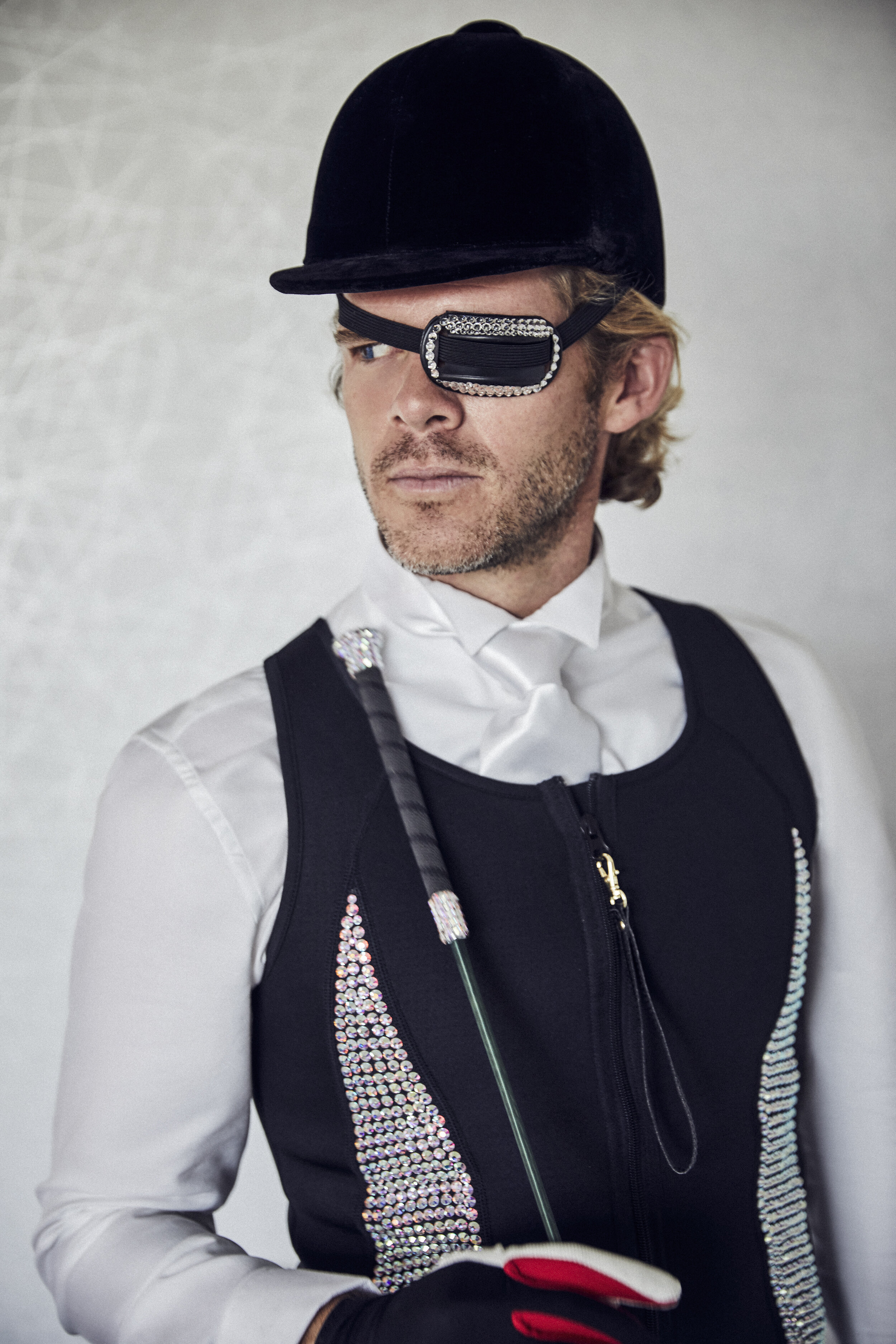 Black Neoprene Vest with Swarovski Crystals by  Michael Sui , White Shirt by  Zara , All Riding Accessories by  Michael Sui