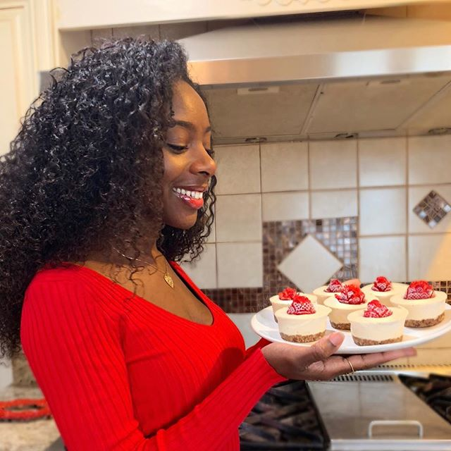 """Roses are red, violets are blue. Mini Strawberry Cheesecake?! I'll take two 😍. Recipe for """"Love at First Bite, Strawberry Cheesecake"""" now on my blog! Link in bio 👸🏾🌱✨ ✨✨✨✨✨✨✨✨✨ I'm so excited to share this recipe because it was definitely a challenge to create something made from unprocessed, simple ingredients without sacrificing taste. Dessert is one of those things you eat and worry about later, but when it's 100% plant based you can leave the worry behind. Real food, real ingredients 🌱✨ #fromkaysway"""