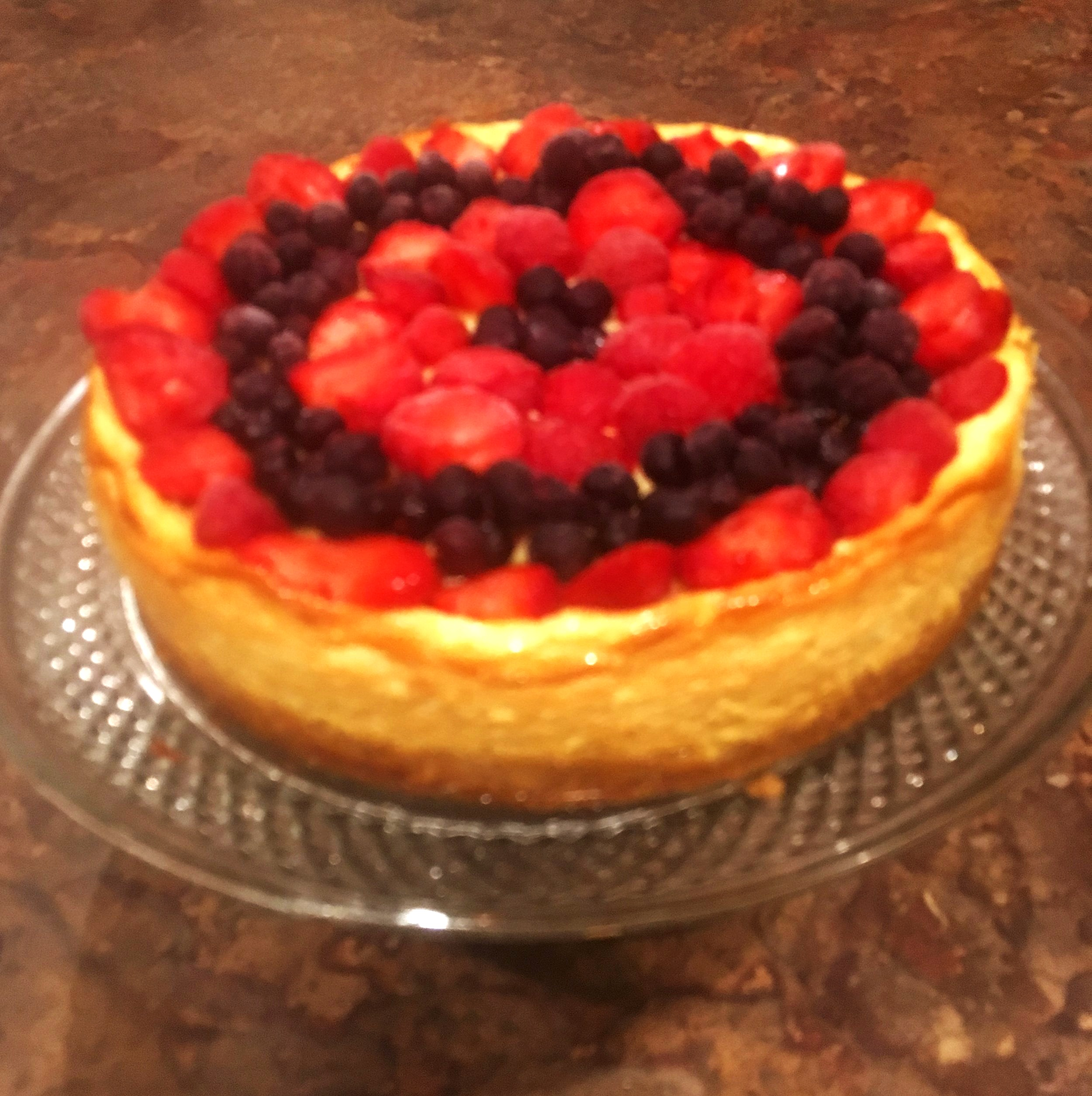 Arlene's Guilt-free Cheesecake with strawberries & blueberries.