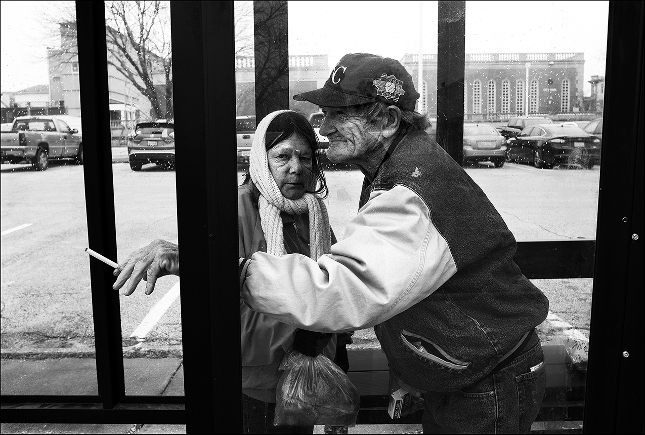 February 2017:  After eating lunch at the Horizons Soup Kitchen, Clarence and Vicki wait for a city bus to take them to their motel room. Quincy public transportation is an important service for those living in poverty, as many are without any other form of transportation.