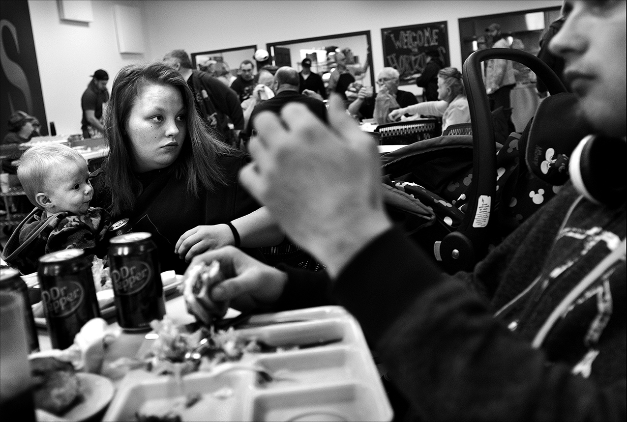 """February 2017:  Josh and Brooke regularly eat weekday meals with their son at the Horizons Soup Kitchen and Food Pantry. Months later, they say they are trying to regain custody of their son after a relative said Brooke bit him on his arm. """"I don' believe she did it. What happened was Brooke was playing with him and accidentally put a bruise on him by tickling his arm with her mouth."""" Josh says he believes the complaint stemmed from the drama of one of their relatives who is controlling."""