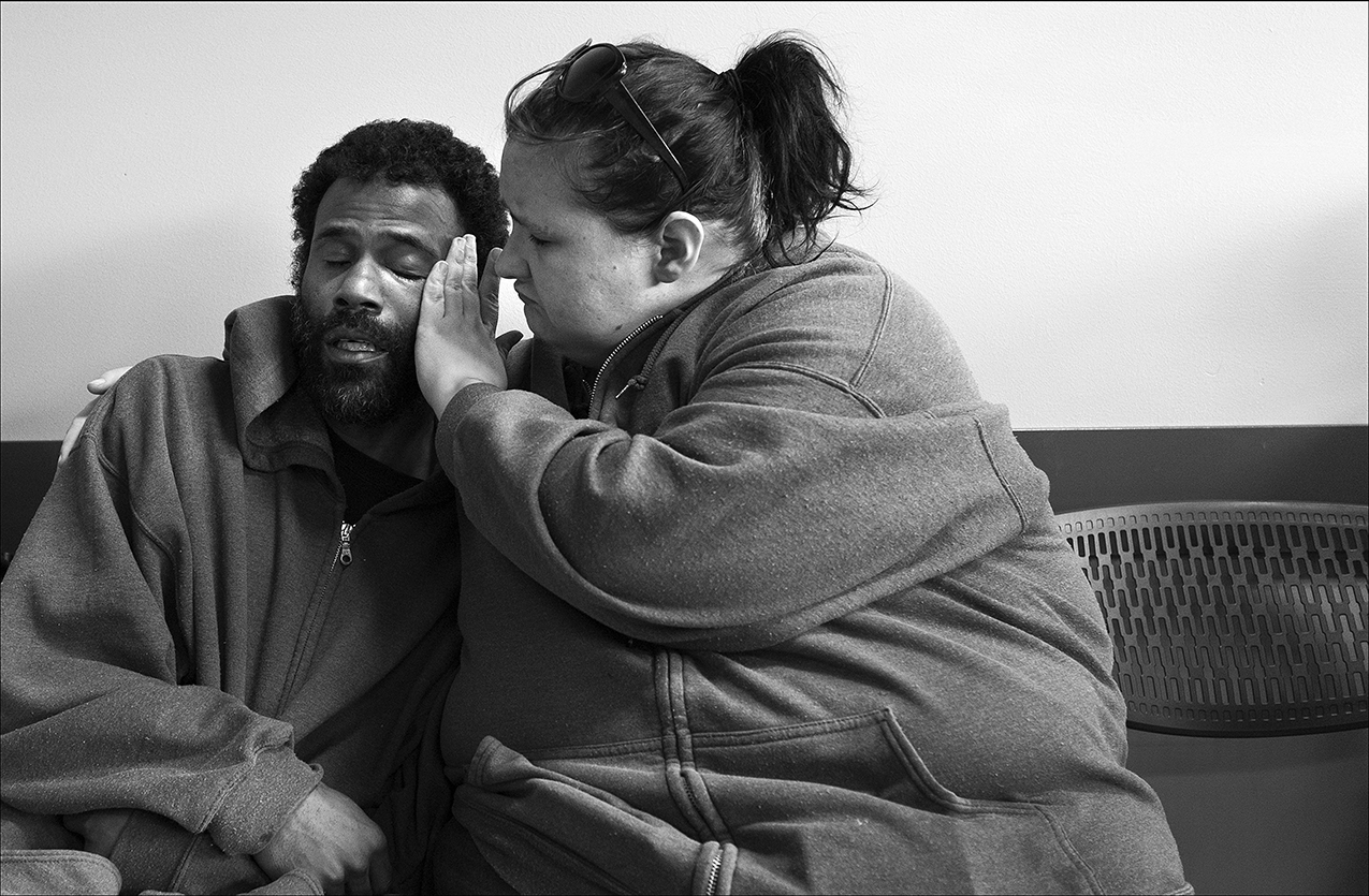 April 2017:   Exhausted from working extra hours and not sleeping well the night before, Tony is comforted by his girlfriend Andrea. Tony is admitted to Blessing Hospital later that day for dehydration and low blood pressure. Tony has been working as many hours as he can get, often filling in for others, so he can save enough money so he and Andrea can move to a better apartment.