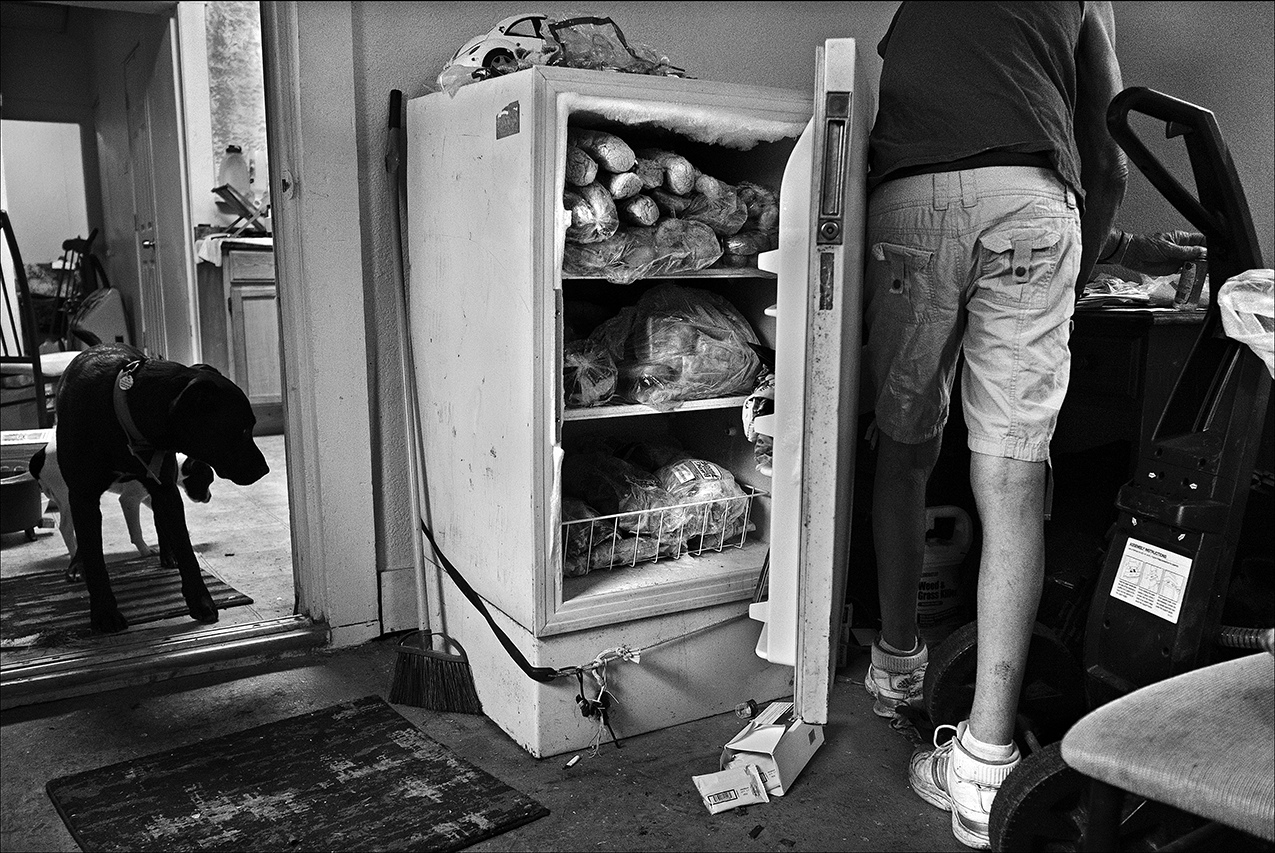 April 2017:  Like many in poverty, Walter frequents food pantries to stock up on basic staples. His freezer is full of bread. Food pantries tend to receive and hand out processed canned and boxed foods loaded with sugar and sodium, which makes SNAP food benefits and soup kitchens so much more important to maintaining a healthy diet.