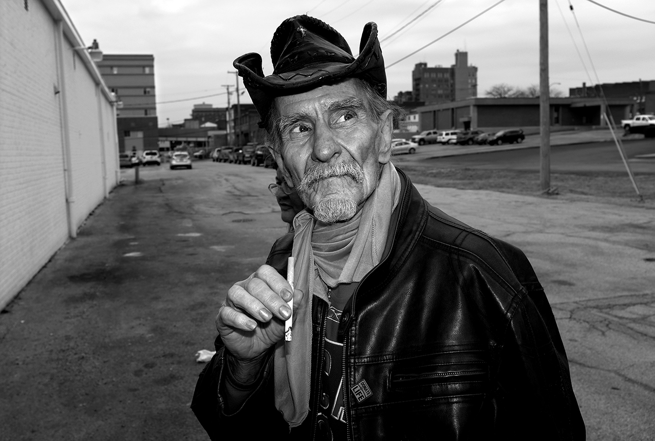 """February 2017:  Walter, 72, says he was born in the state of Louisiana and moved to Quincy to work construction about 25 years ago.  """"My dad was a full-blooded Choctaw. He was a mule skinner. We moved three or four times a year and followed his work. There were six of us kids. He had a pretty hard row to hoe just feeding us. That's where I learned how to make stuff 'cause I had to make my own toys; he didn't have money to buy toys, barely kept us fed and clothed. Indians are rough and they live a rough life.  """"Twenty-two years ago me and Sandy went back down to Louisiana where I'm from. I was still doing construction work at the time, building condominiums. At that time we had a little bit more money than we did later, because I had a good job. While we were down there I was going to the laundromat one night, and I was driving a little woodie station wagon. Train come, it was kinda foggy, I started to go across the track, train coming along, no whistle, no nothing. It hit my little wagon and tore the front end of it off, tore the back end of it off. Scattered my clothes about six blocks. Separated the motor and the transmission about 50 feet. And there wasn't a glass in the passenger compartment even cracked. Who was taking care of me? The Good Lord was. He's took care of me for 72 years. He left me here for a reason. And I know what that reason is. To try to help other people know Him. That's what it says in His Word, 'Love your neighbor as yourself.'In other words, try to help someone else along the way. He's saving me for some reason. And that's to try to help other people, I know it with all my heart."""""""