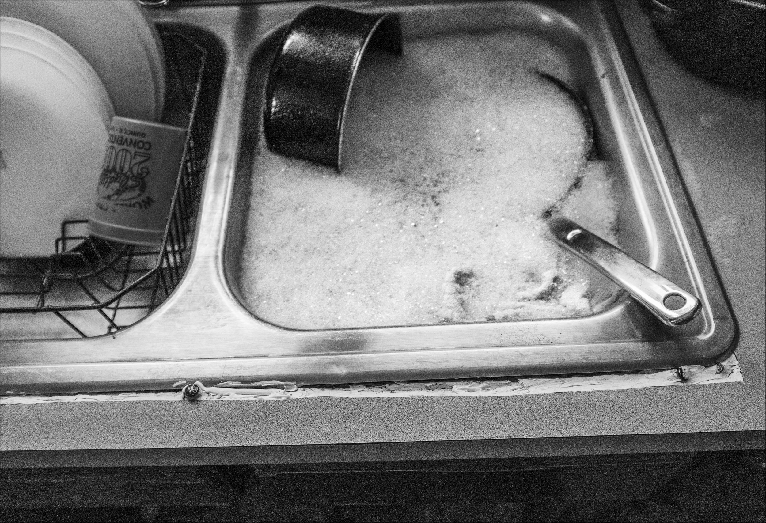February 2019:  The kitchen sink is literally separated from the countertop contributing to the number of rodents in the apartment.