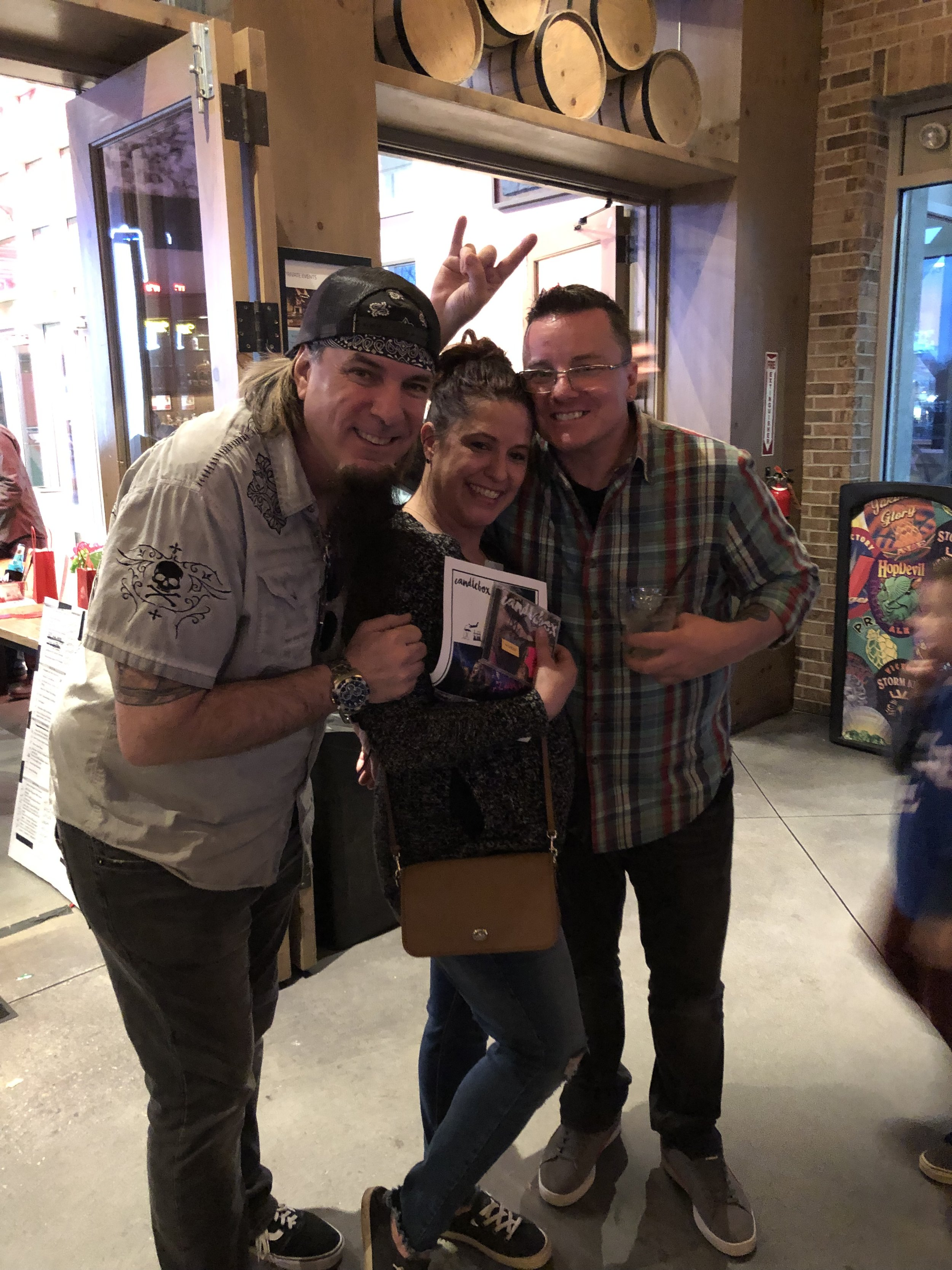 Katiebird (middle) won 2 tickets to Candlebox with a backstage meet and greet, plus an autographed CD.  (pictured with Bobby Pirylis, left, and Richie Yusko, right)