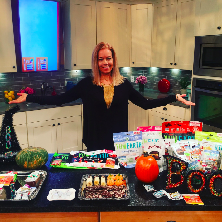 My Halloween episode on 11alive eating Justin's dark chocolate peanut butter cups and YumEarth trick or treat goodies!