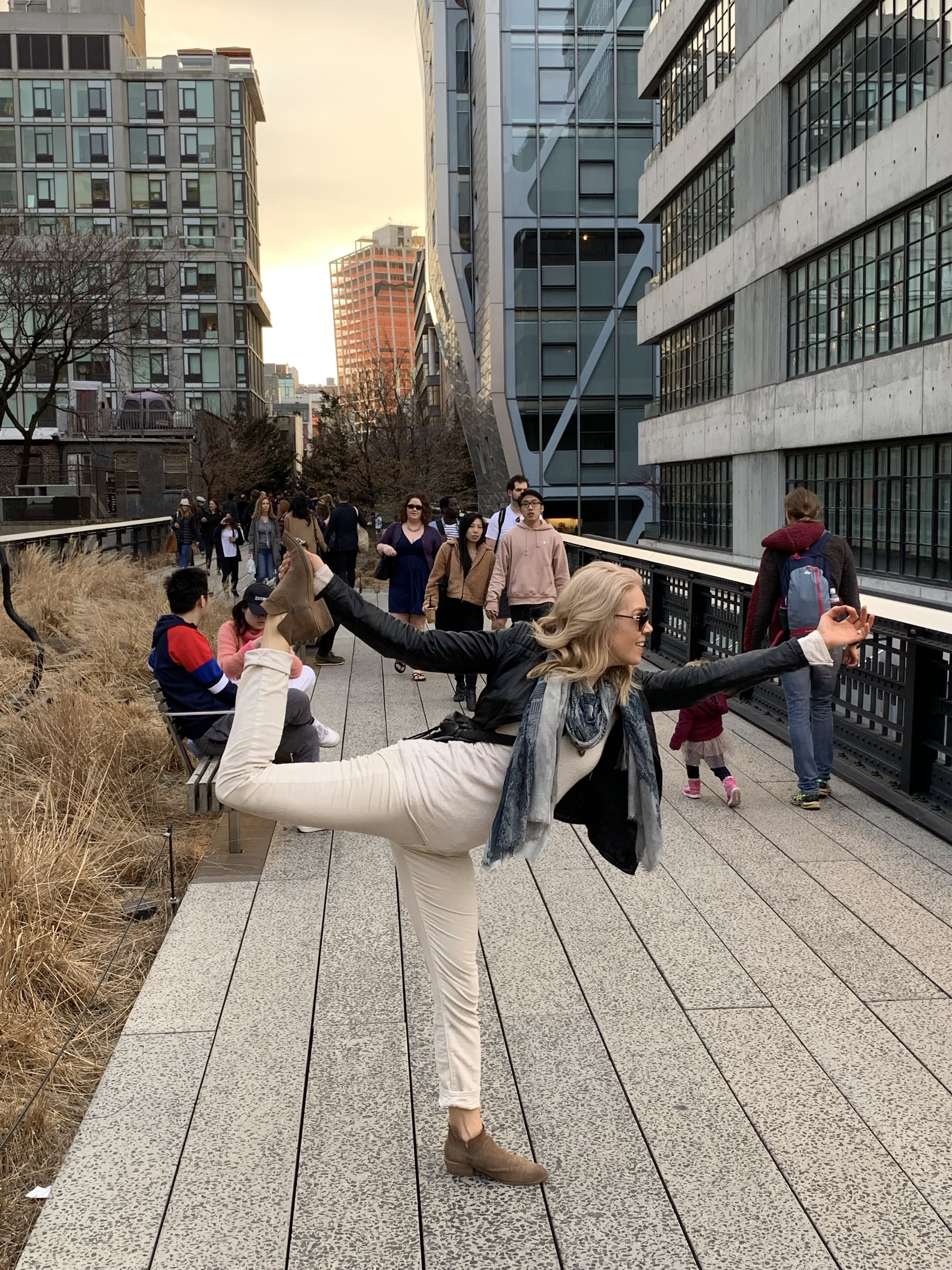 Capturing joy in my favorite yoga pose, Natarajasana, among the frenetic pace of the High Line in NYC opening weekend of Hudson Yards.