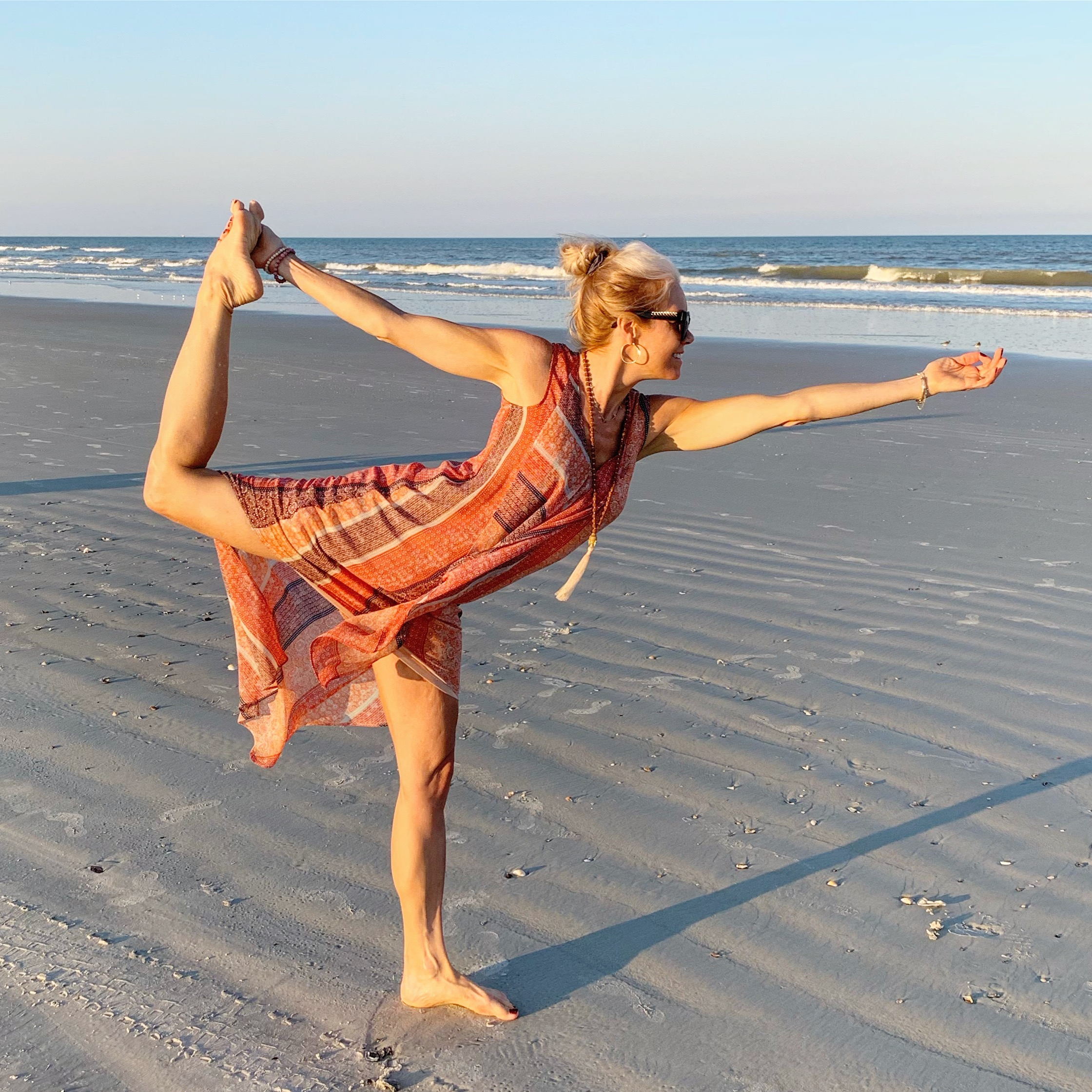 It's impossible for me to stress or feel anything other than JOY while in nature, especially when at the BEACH in my favorite yoga pose!