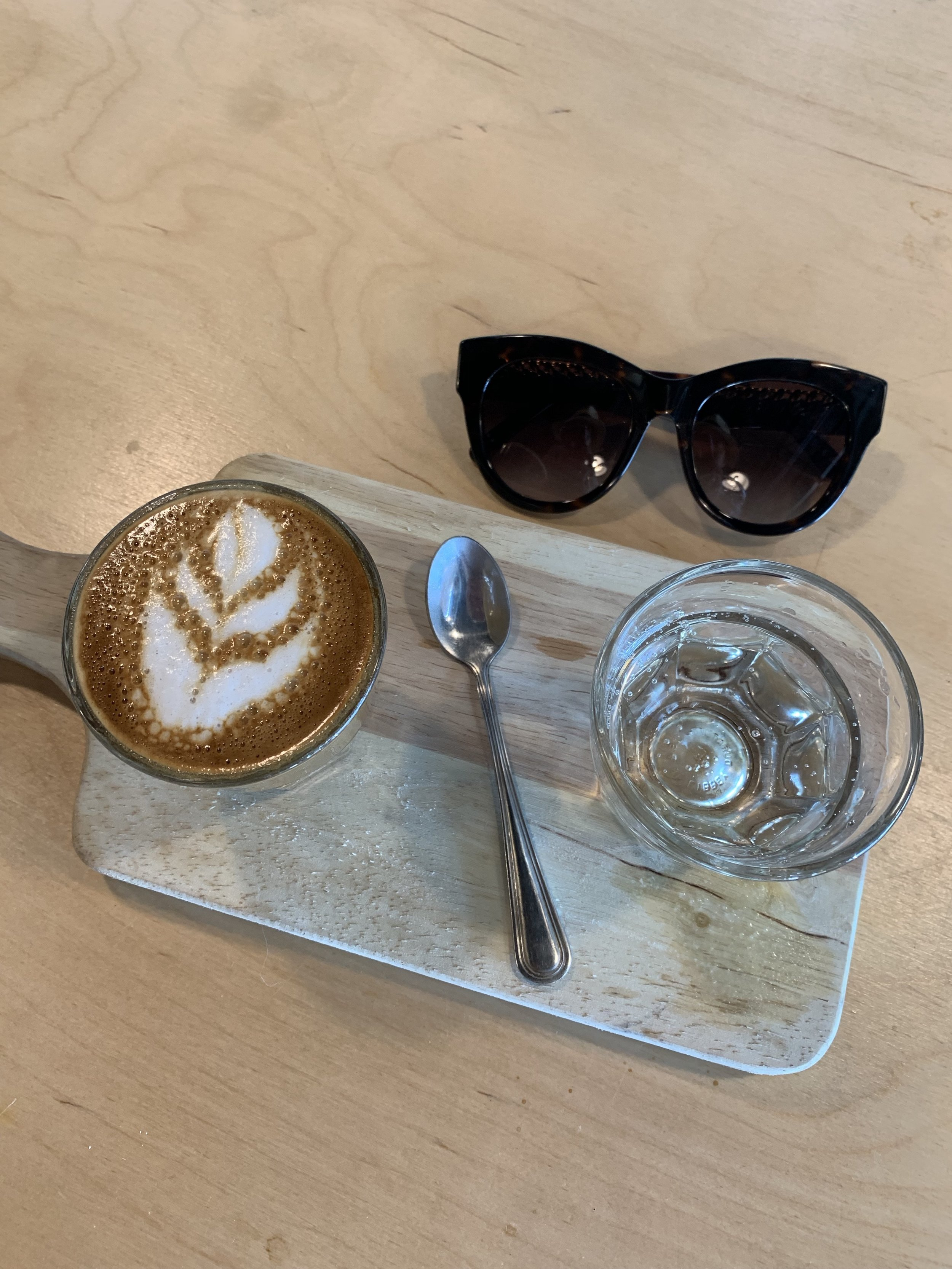 Piccolo Latte with coconut milk at the  Kookaburra Coffee Shop  in St Augustine Beach… they are serious about their coffee and serve with sparkling water to cleanse the palate!