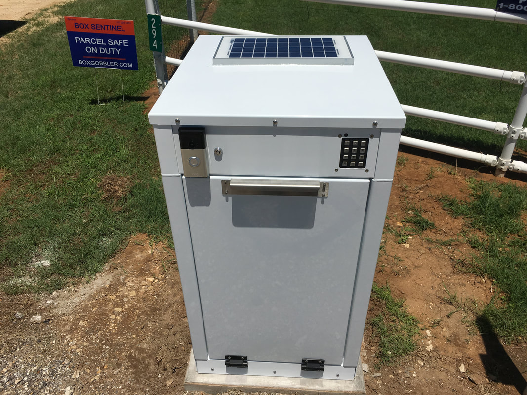 The Box sentinel with a solar panel and a 12-volt 12- amp hour Interstate battery kit installed. access is controlled by an electronic keypad that features led lighting and audible tones. notice the video doorbell the customer added after installation.