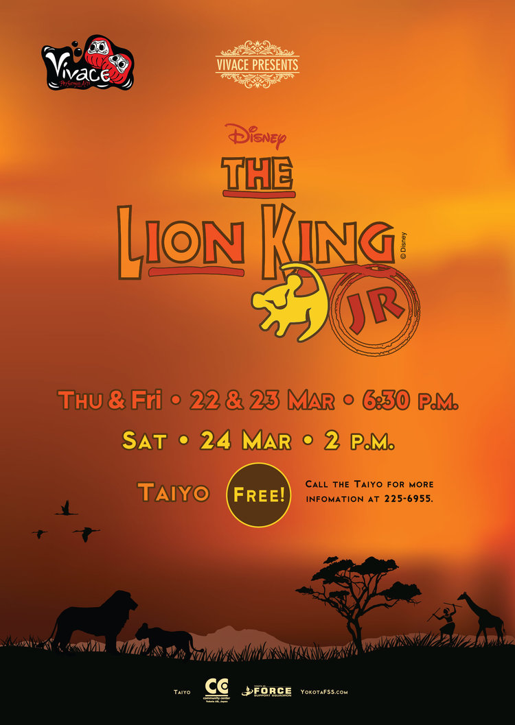 The Lion King Jr. - A Lion cub crown prince is tricked by a treacherous uncle into thinking he caused his father's death and flees into exile in despair, only to learn in adulthood his identity and his responsibilities. The Lion King Jr. is a 60-minute adaptation created especially for the strengths and skill levels of elementary and middle school students!