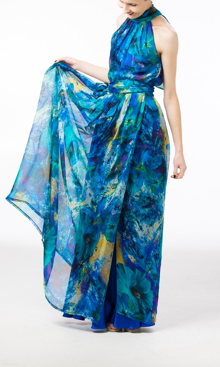 Vizuāli transformējama šifona kleita