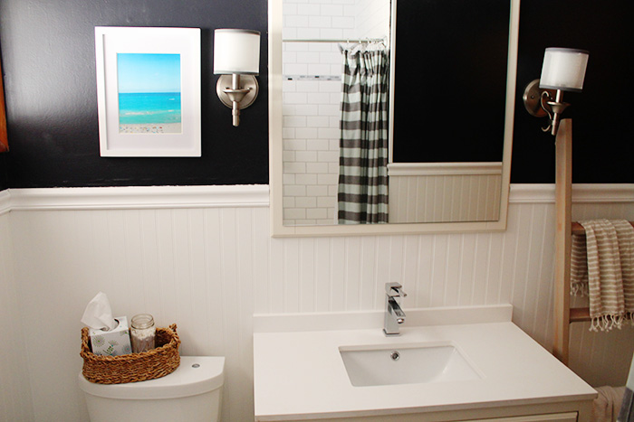 white and navy bathroom