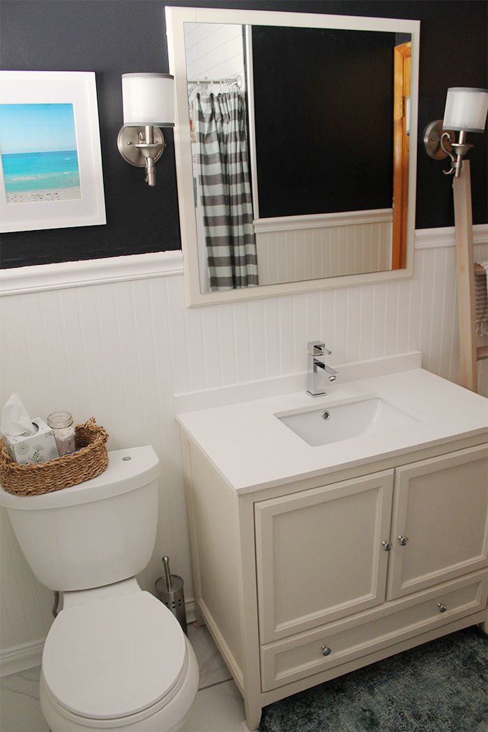 modern white and navy bathroom