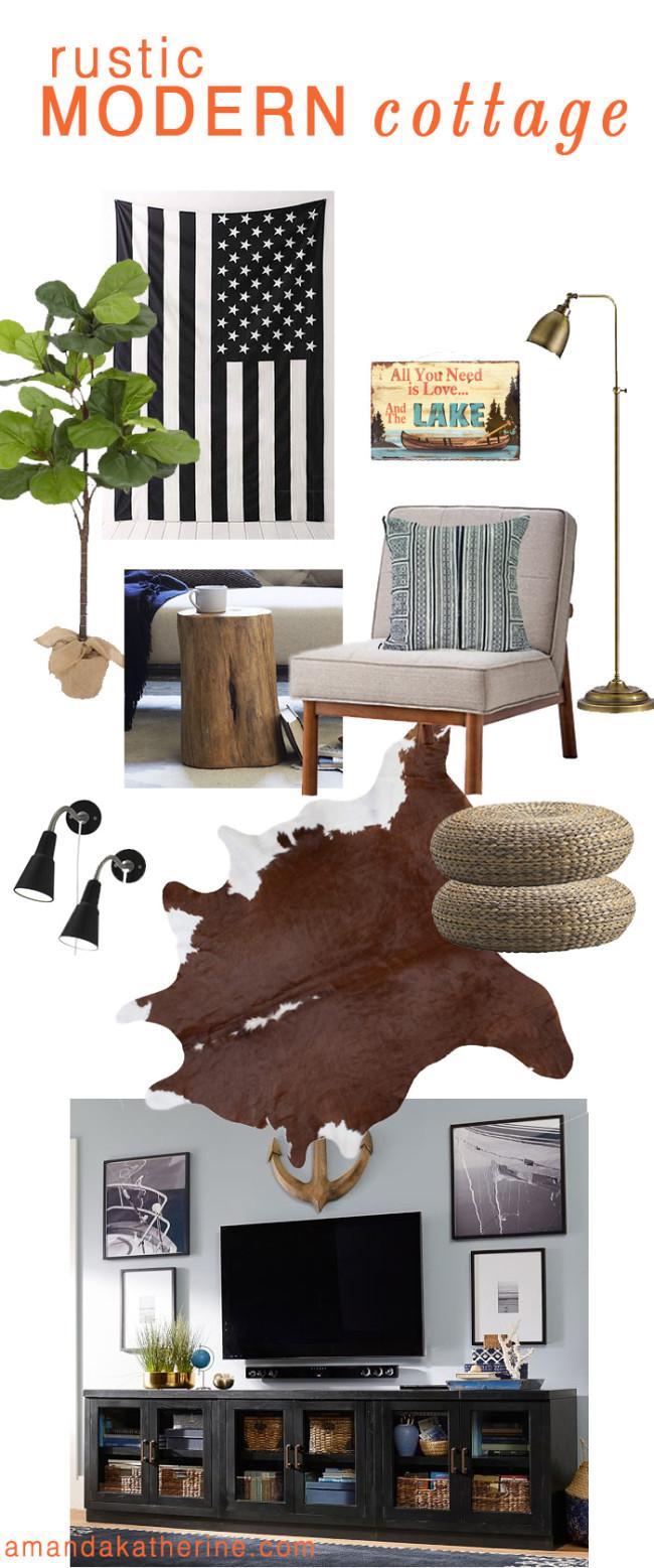 rustic modern cottage basement living room