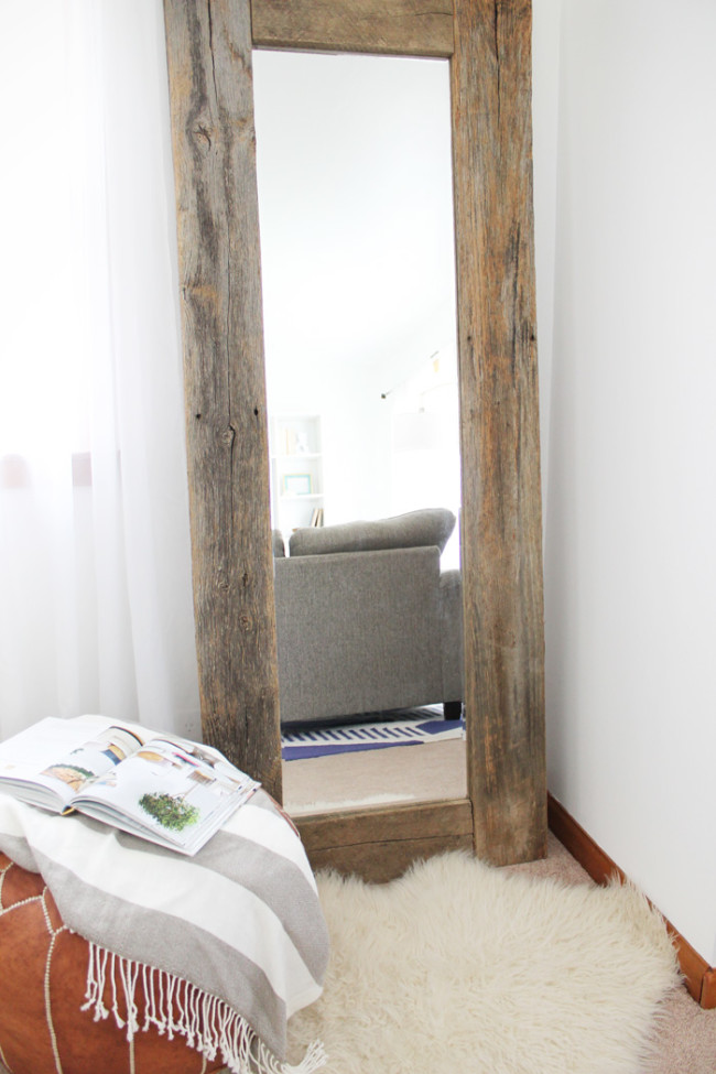 DIY rustic wood frame mirror