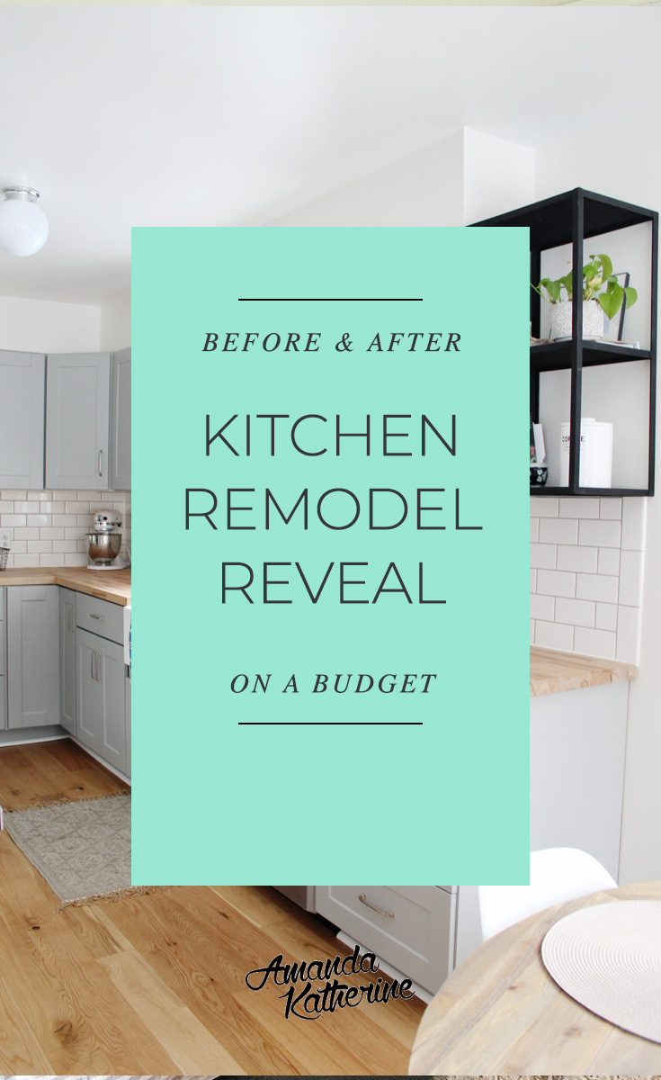 We're revealing our small kitchen renovation reveal that we did ourselves on a budget with grey cabinets, oak wood flooring, stainless steel appliances, a farmhouse sink and more. Click to see the before and after photos. You won't believe what it looked like before our remodel!