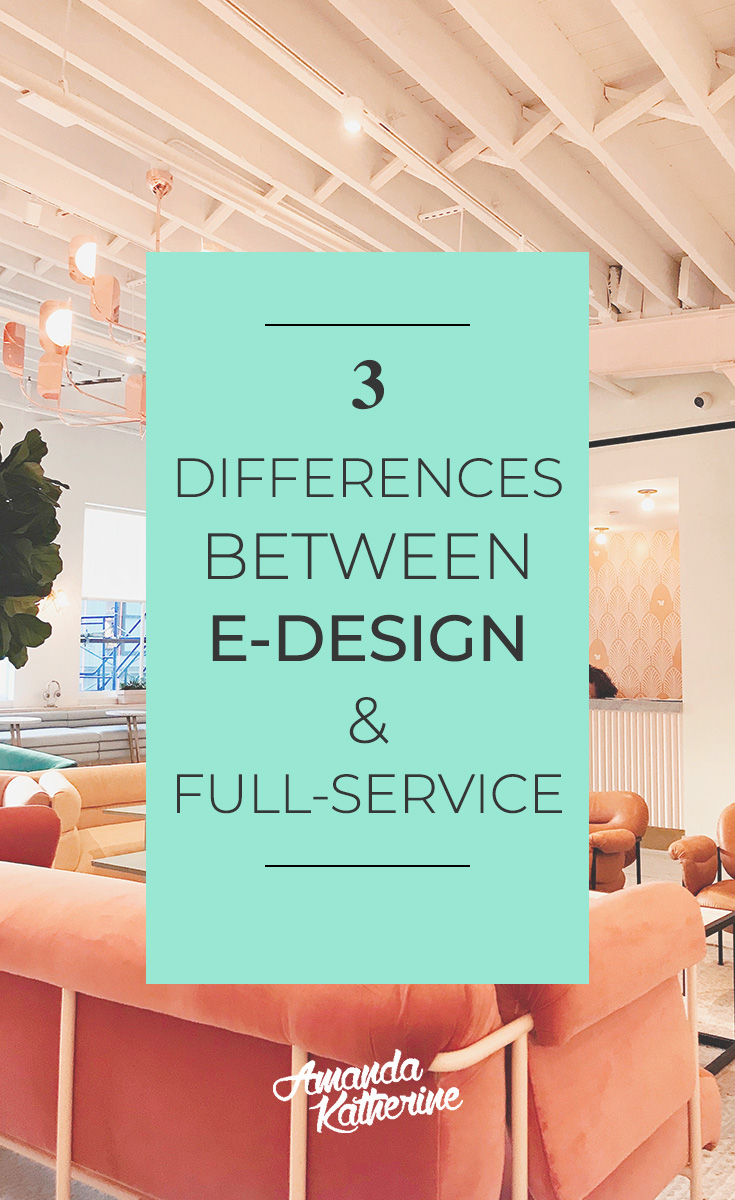 3 differences between online interior e-design and traditional full-service design. have you ever wondered about online interior design services? I'm sharing the 3 major differences and how you can know which option is best for you to help you decorate your home.