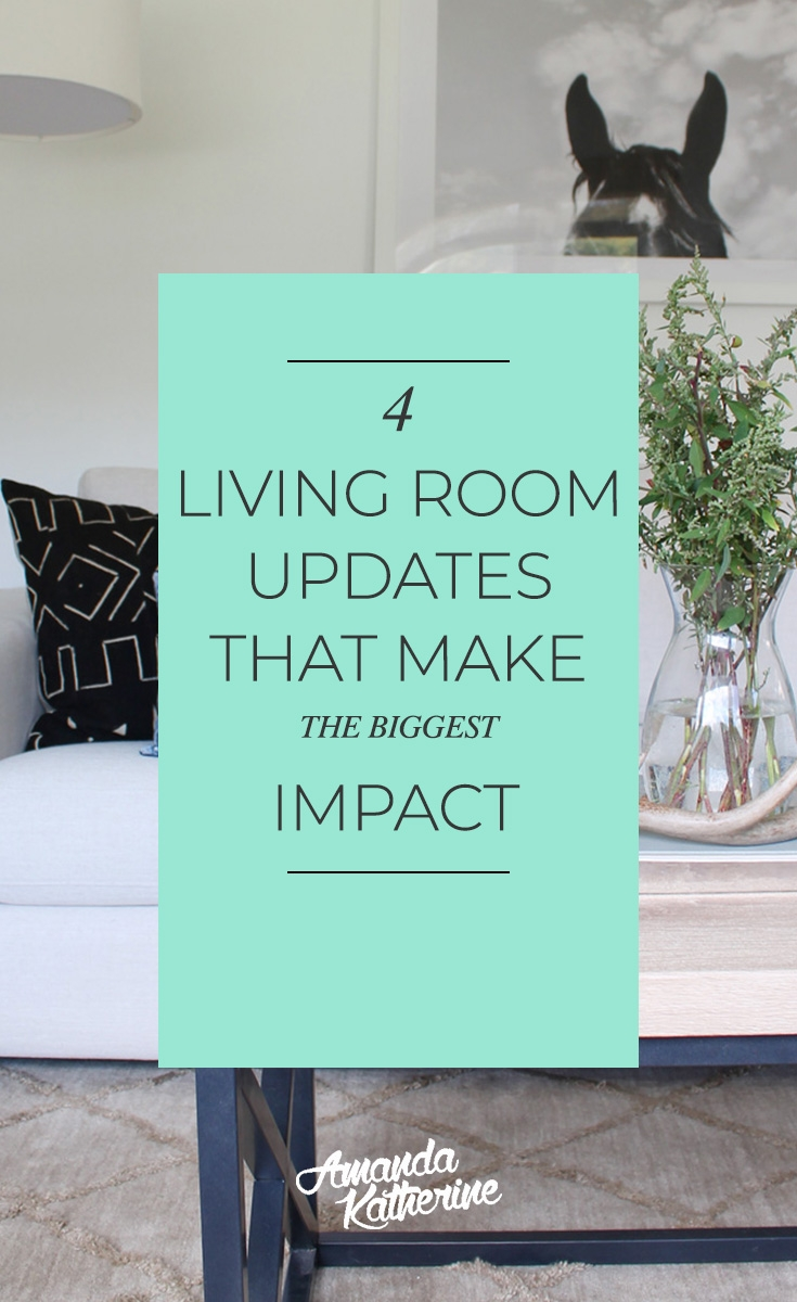4 living room updates that make the biggest impact in your home. Need ideas how you can spruce up your living room and give it life on a budget? Here are 4 ideas that will instantly update your home, you won't believe the before and after. From wall colors, to lighting, and throw pillows, your living will look like a completely new space.