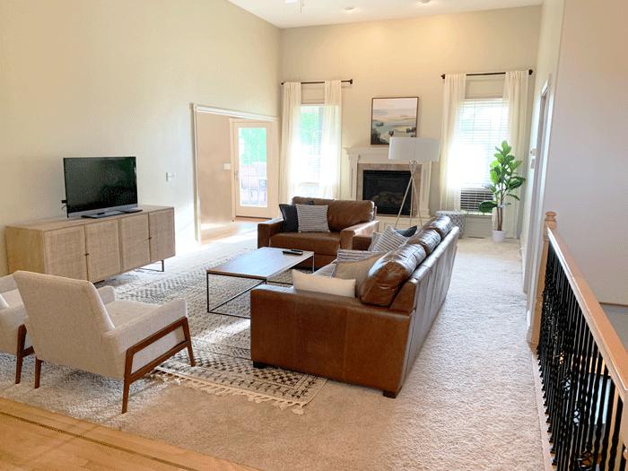 mid-century modern chic grey living room