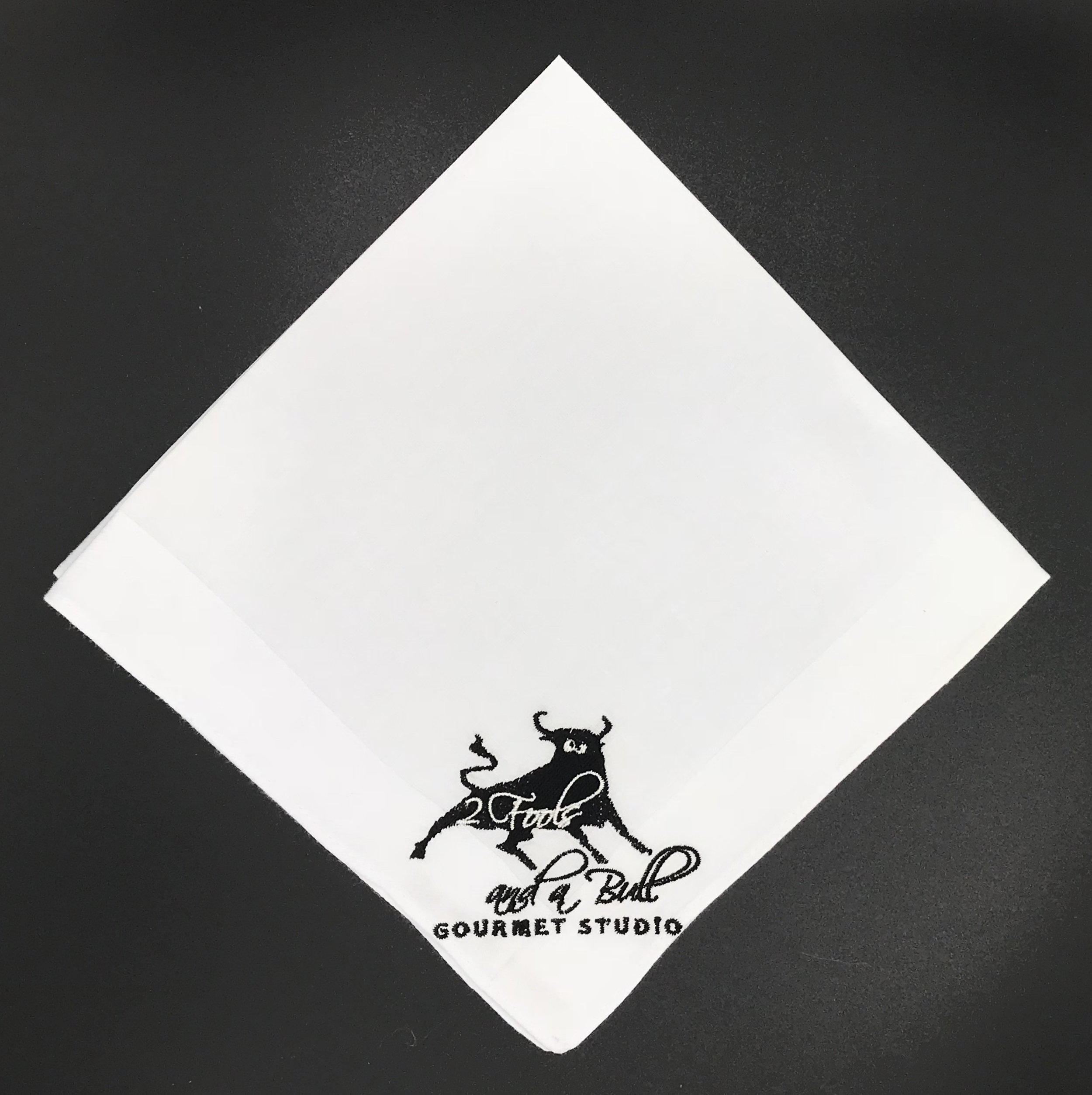 2 Fools and a Bull Gourmet Studio Custom Embroidered Handkerchief