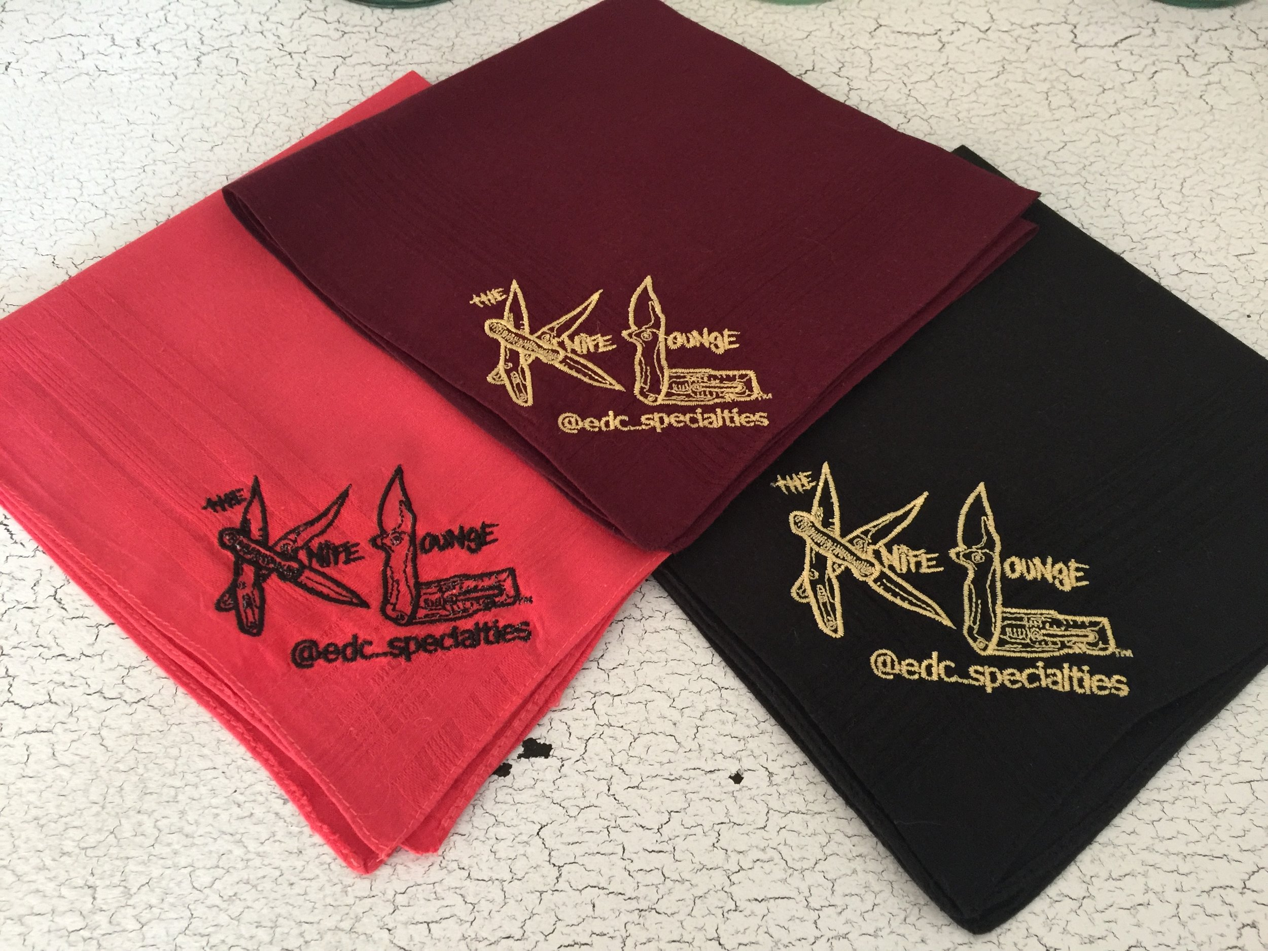The Knife Lounge at Everyday Carry Specialities Custom Embroidered Handkerchief