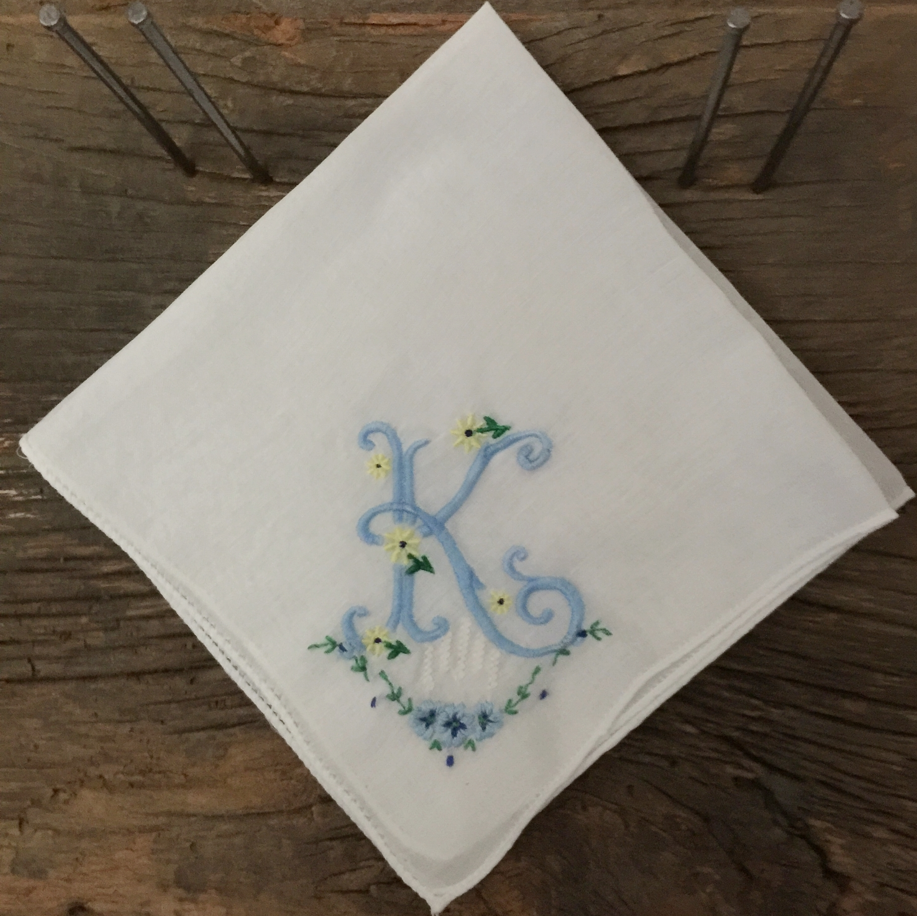 Vintage Handkerchief Repurposed with Monogram K letter