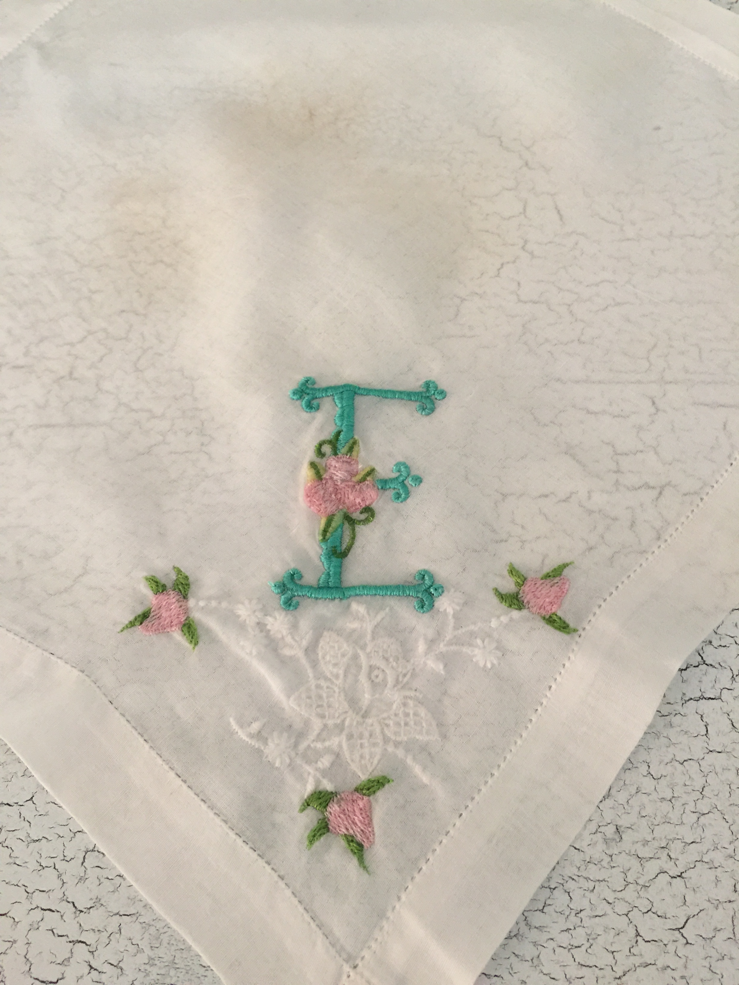 Vintage Handkerchief Monogrammed with the letter E