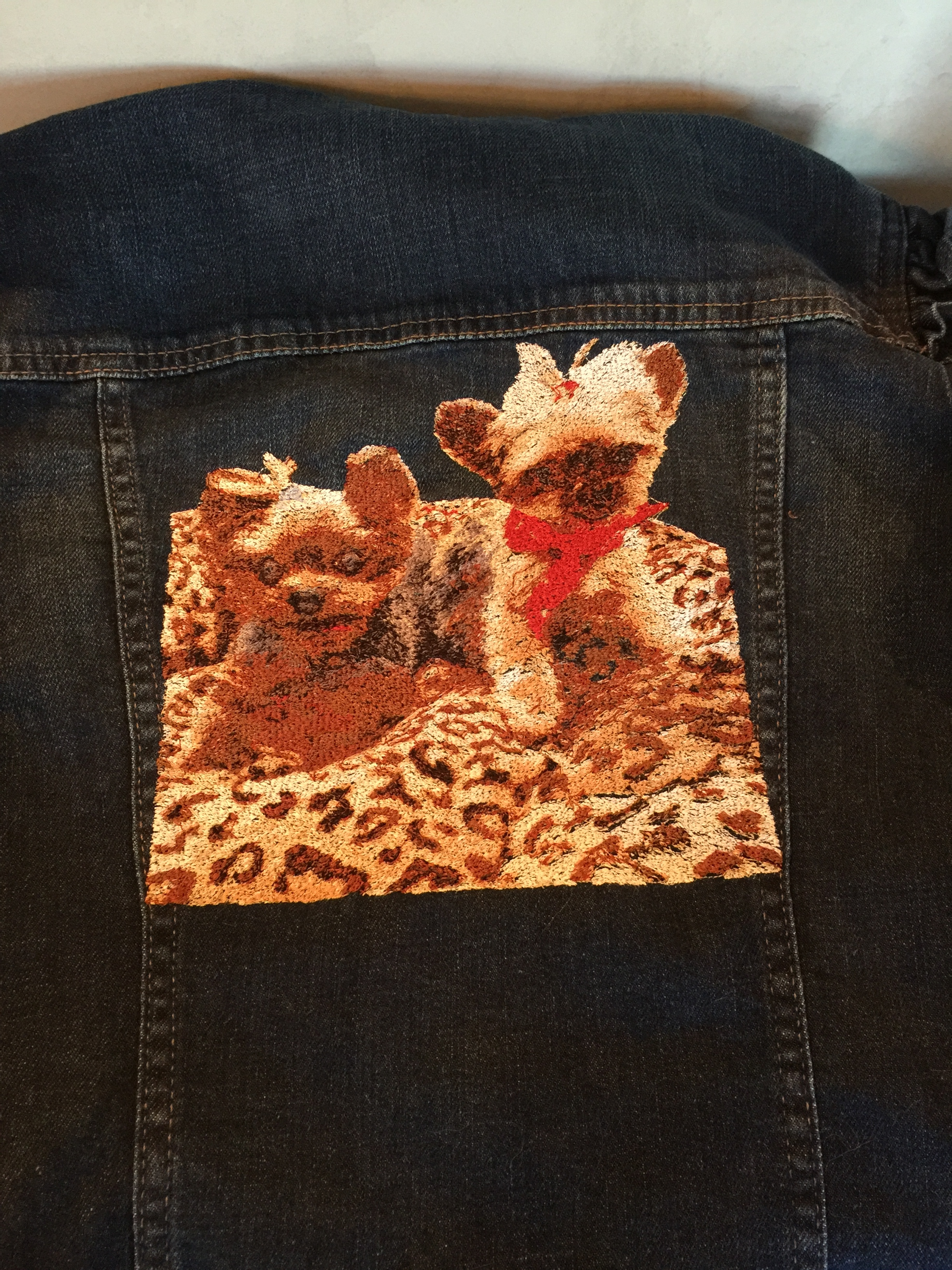 Custom Photo Embroidered Yorkies on Denim Jacket